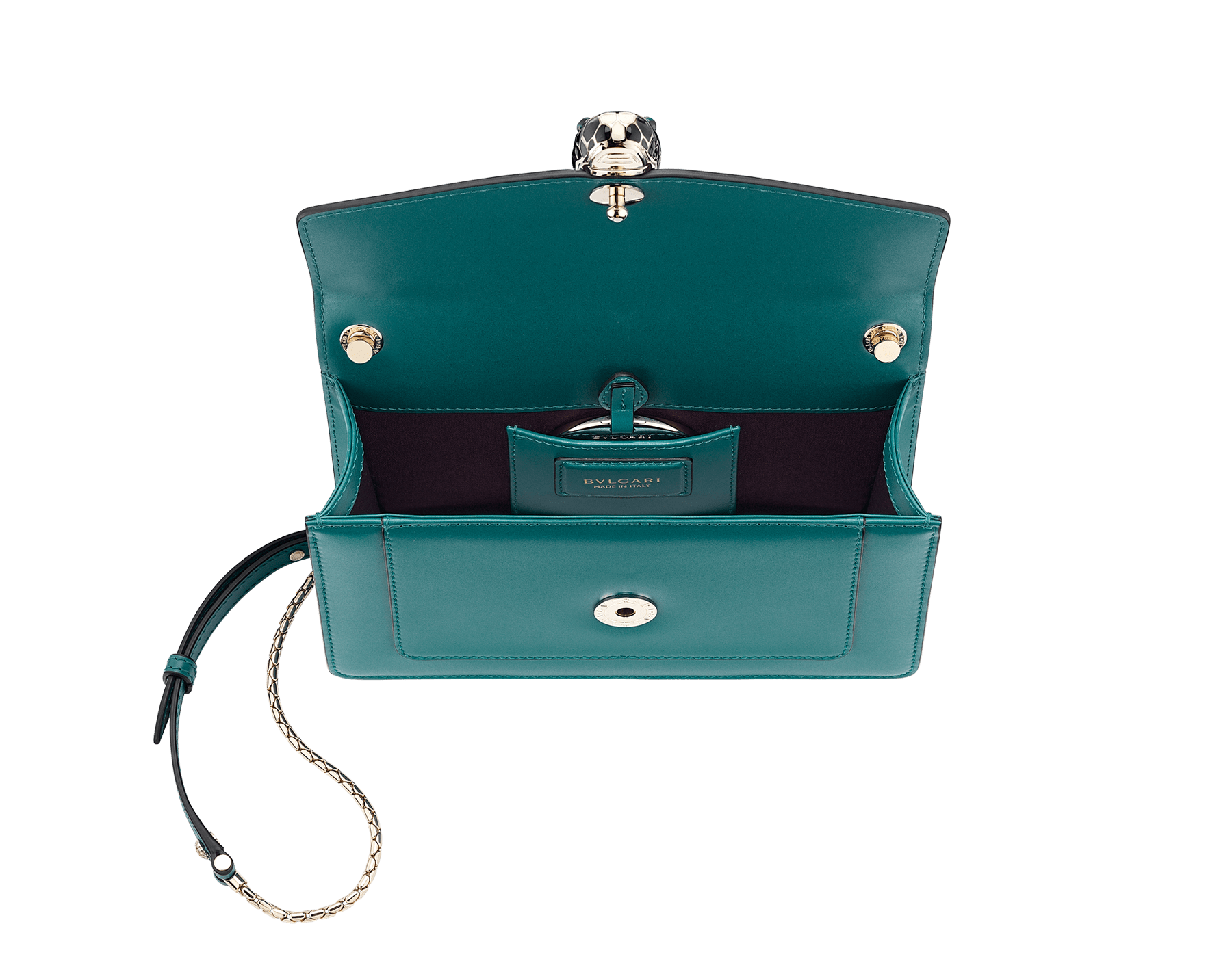 Serpenti Forever crossbody bag in sea star coral smooth calf leather. Snakehead closure in light gold plated brass decorated with black and white enamel, and green malachite eyes. 625-BCLc image 4
