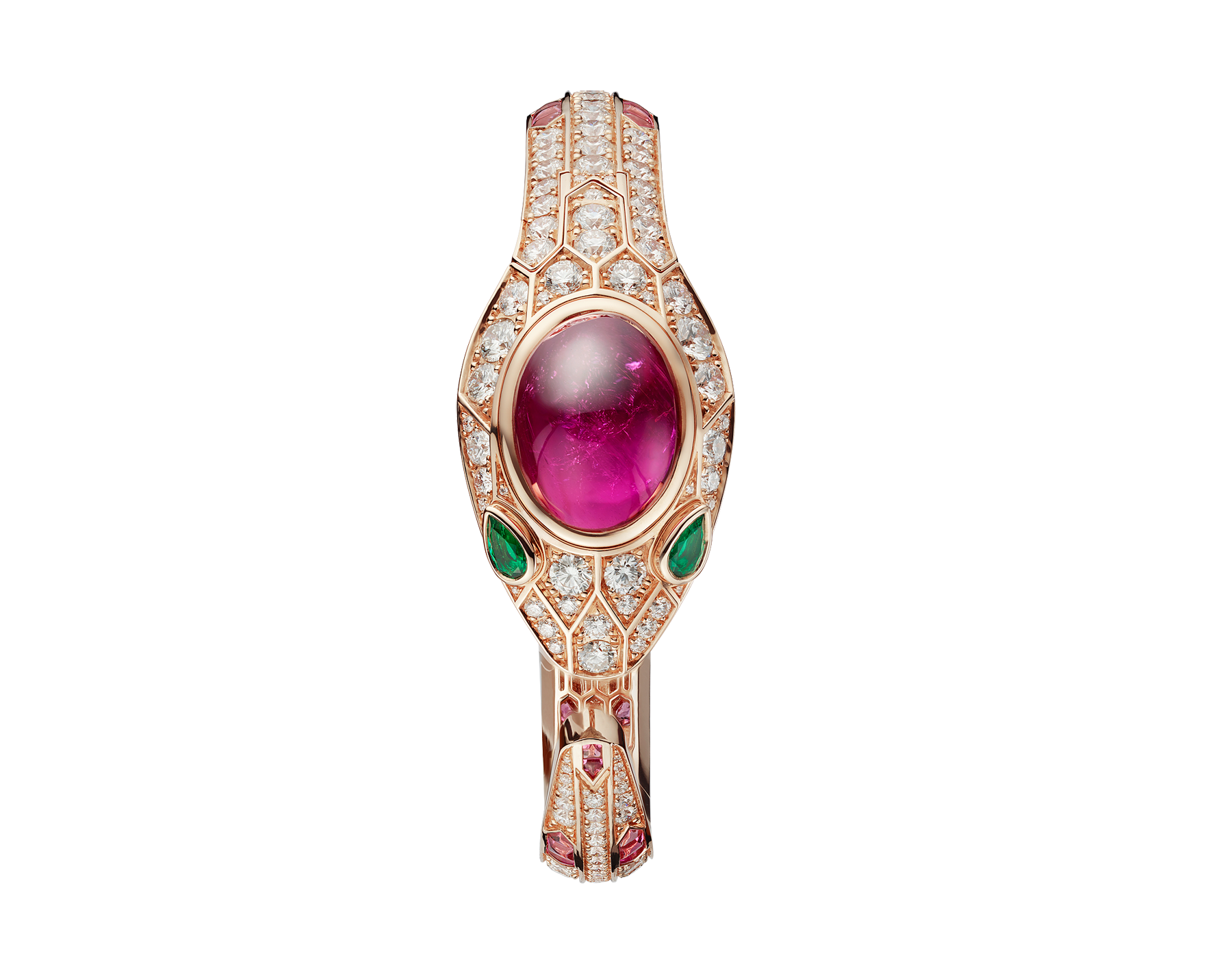 Serpenti Seduttori watch with 18 kt rose gold case and dial, 18 kt rose gold head set with brilliant cut diamonds, one cabochon cut tourmaline and emerald eyes, 18 kt rose gold bracelet set with brilliant cut diamonds and tourmalines. 102616 image 2