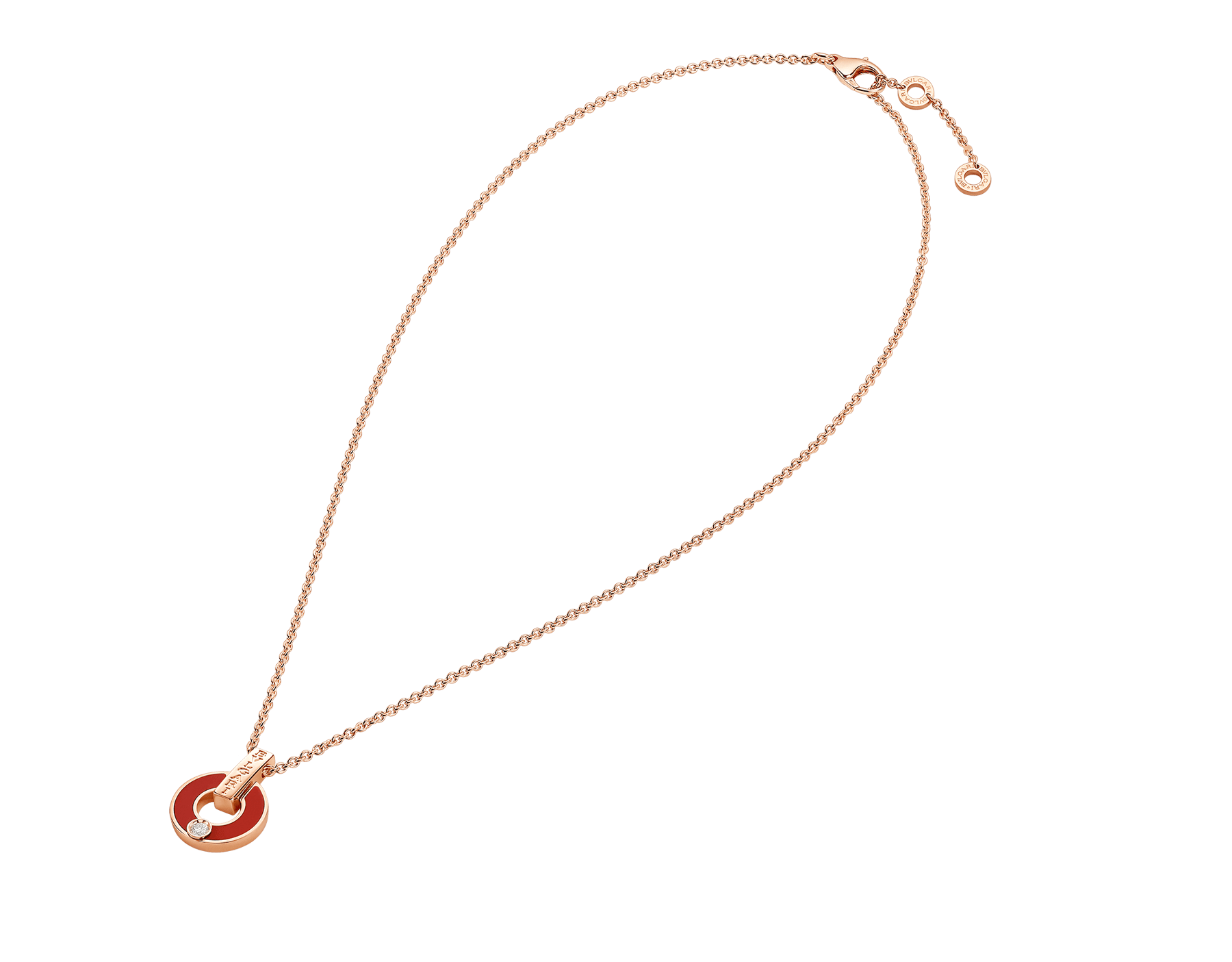 BVLGARI BVLGARI Openwork 18 kt yellow gold necklace set with coral elements and a round brilliant-cut diamond 357921 image 2