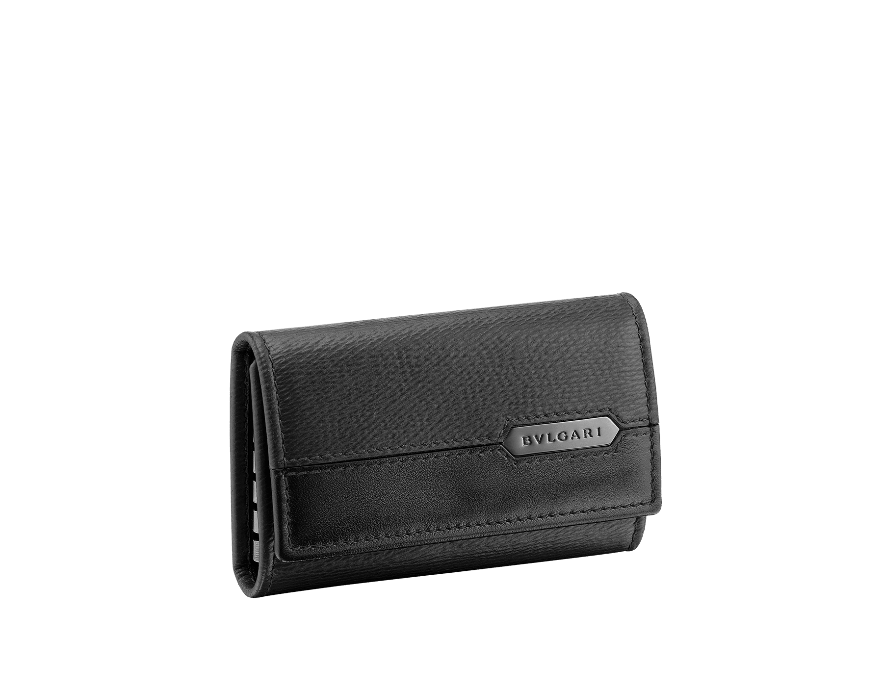 Keyholder in black grazed calf leather and black calf leather. Bulgari logo on metal plate featuring the Scaglie motif finished in dark ruthenium. 280887 image 1