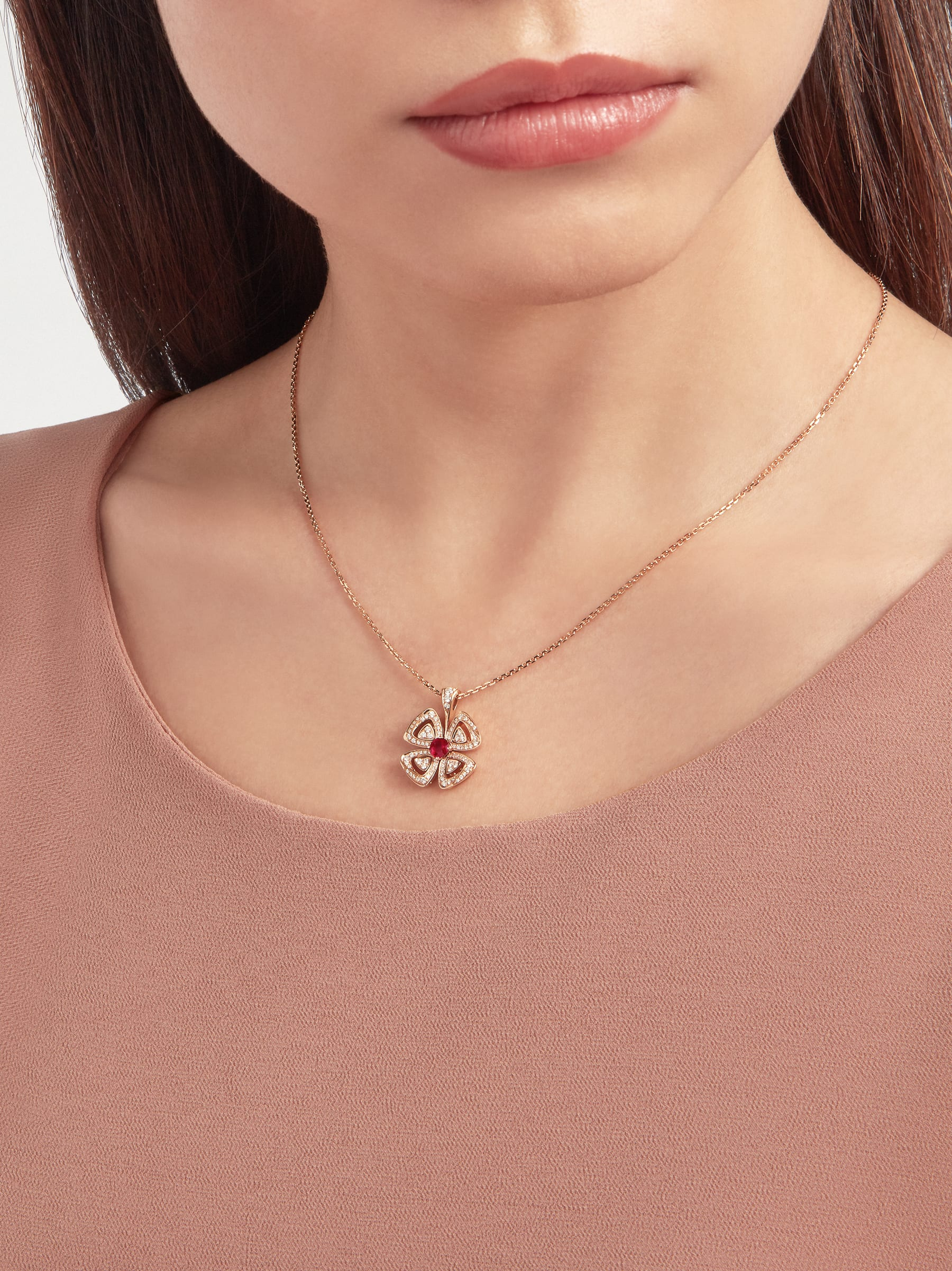 Fiorever 18 kt rose gold pendant necklace set with a central brilliant-cut ruby (0.35 ct) and pavé diamonds (0.31 ct) 358428 image 1