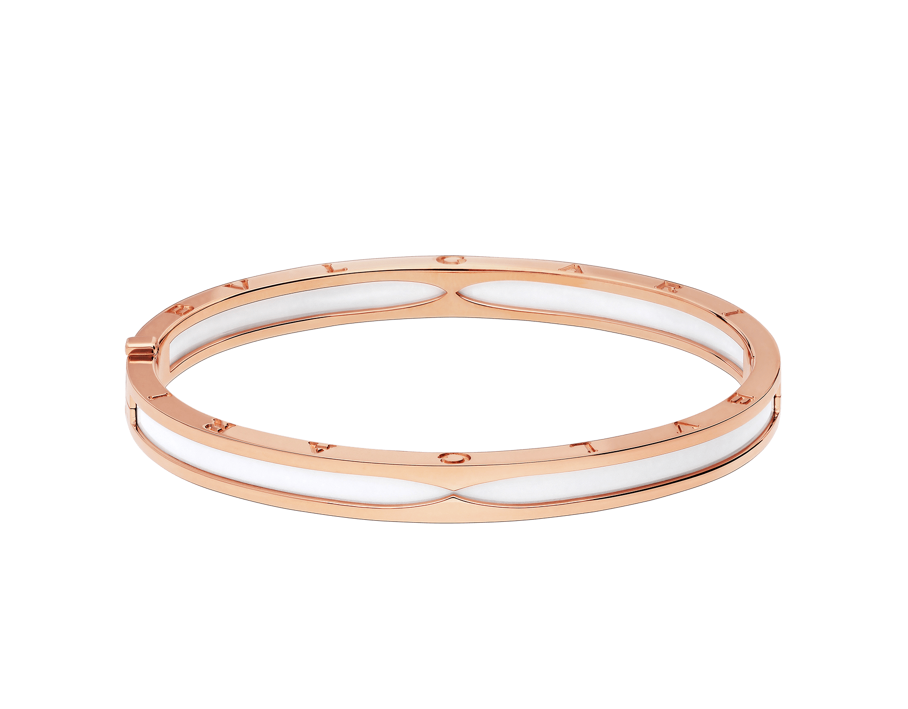 B.zero1 bangle bracelet in 18 kt rose gold with white ceramic. BR857617 image 2