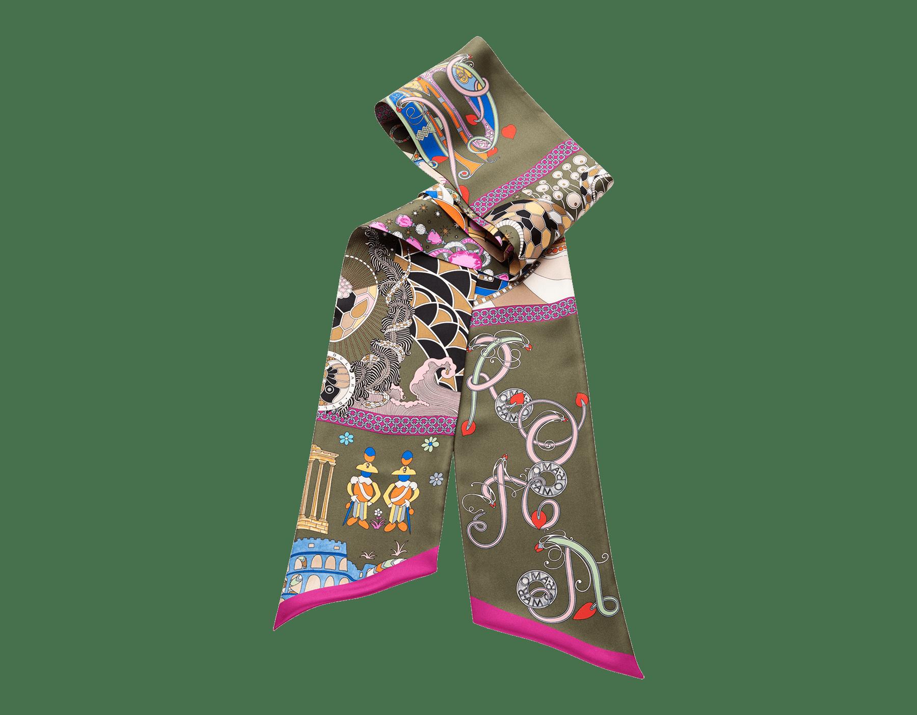 "Capri turquoise ""Città Eterna"" scarf in fine silk twill. 244546 image 1"