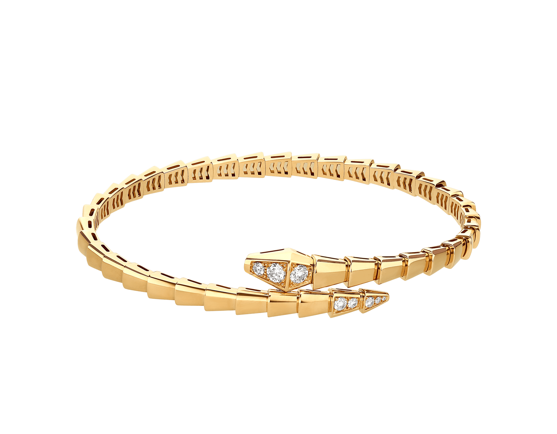 Serpenti Viper 18 kt yellow gold bracelet set with demi-pavé diamonds BR858972 image 2