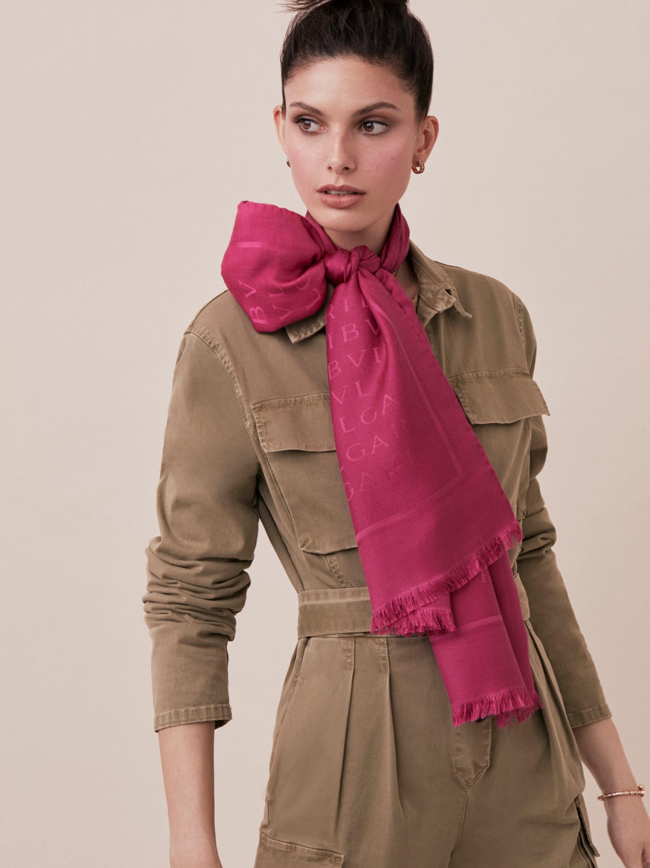 "Berry tourmaline ""Lettere Maxi"" stole in fine silk wool. LETTEREMAXIb image 2"