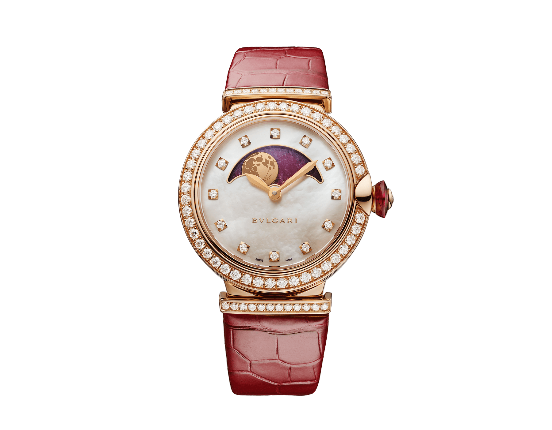 LVCEA Moon phase watch with 18 kt rose gold case set with diamonds, mother-of-pearl and heart of ruby dial, red alligator bracelet. 102686 image 1