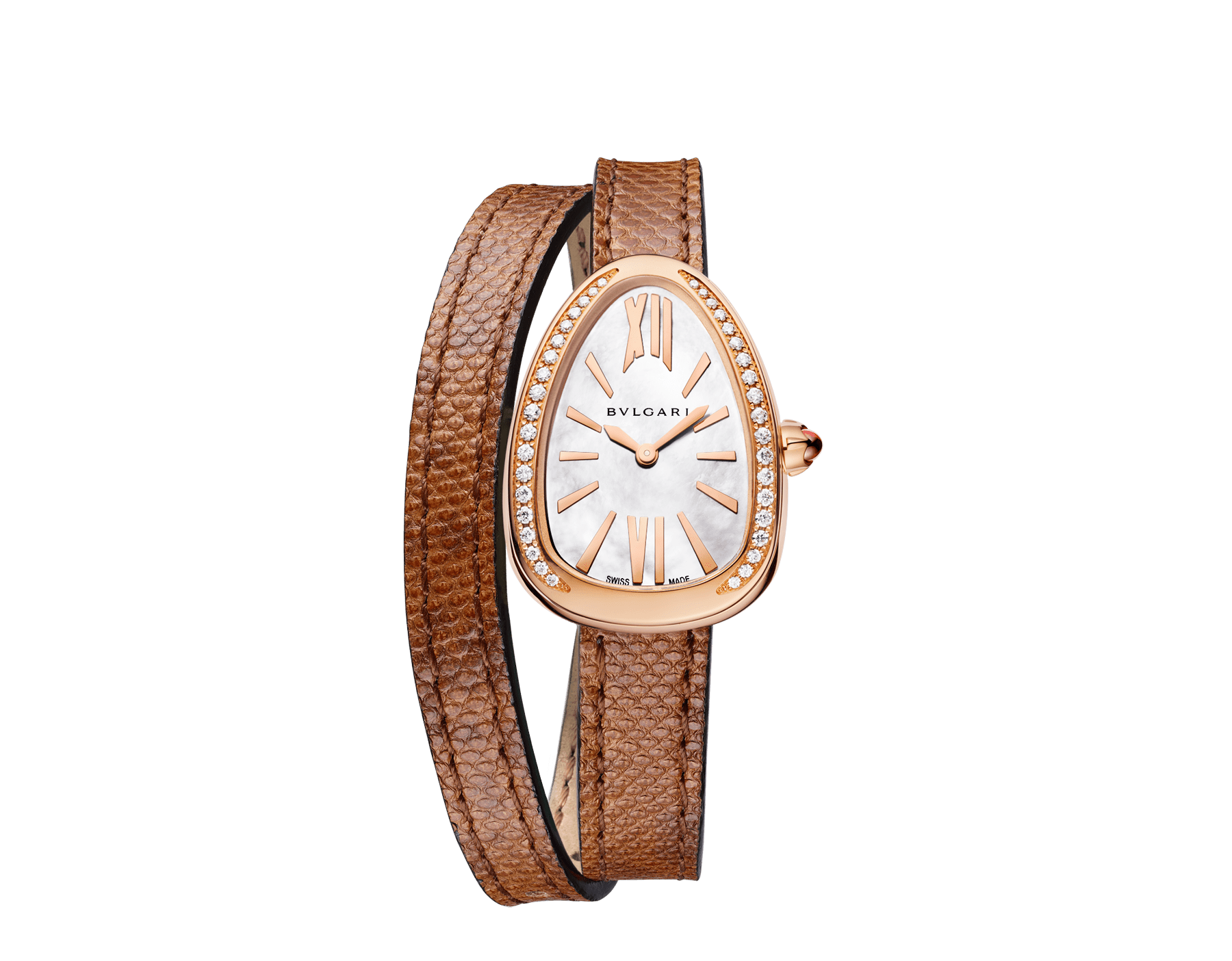 Serpenti watch with 18 kt rose gold case set with brilliant cut diamonds, white mother-of-pearl dial and interchangeable double spiral bracelet in brown karung leather. 102727 image 1