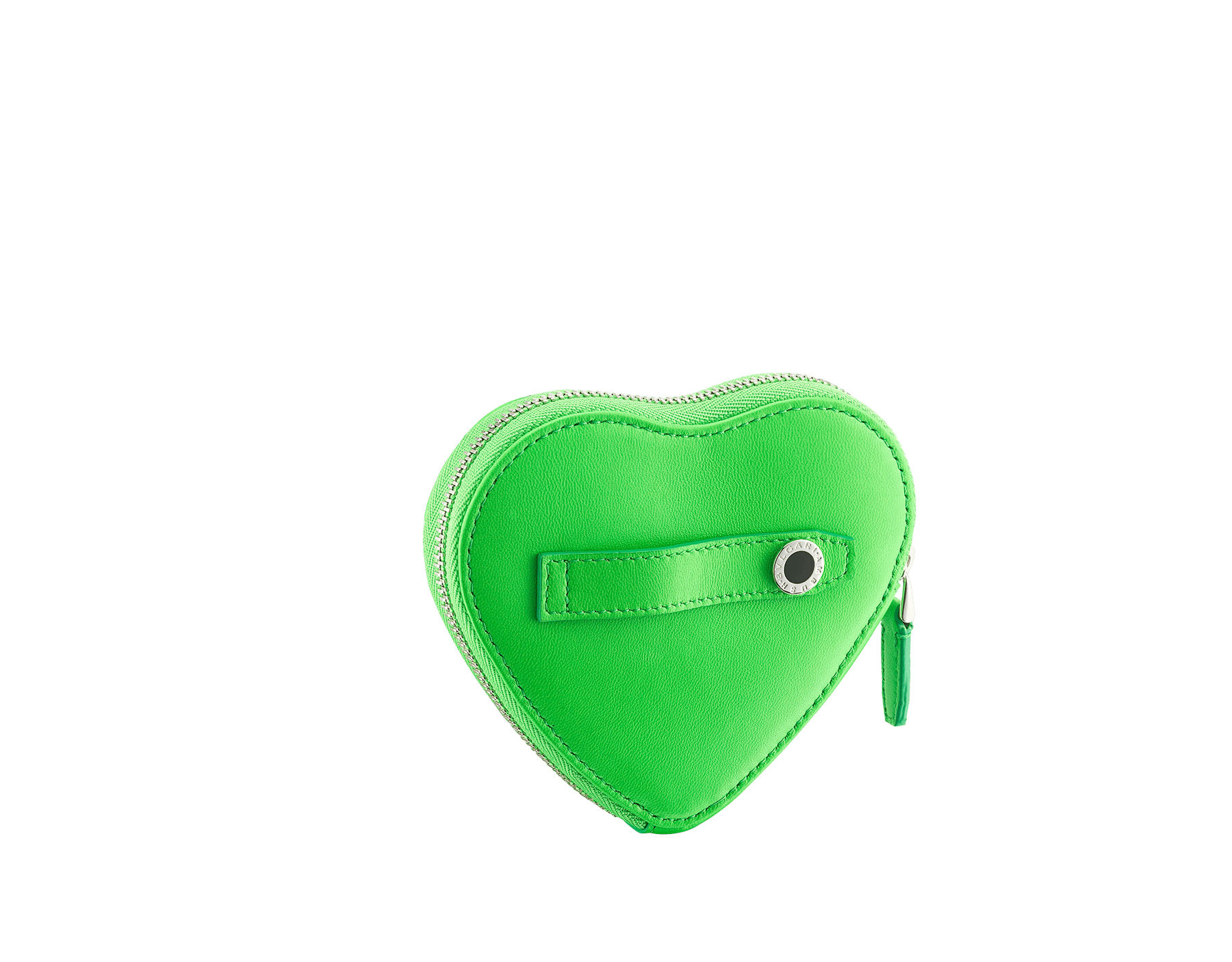 """Ambush x Bvlgari"" coin purse in bright green quilted nappa leather. New Serpenti head in palladium-plated brass covered with bright green nappa leather and finished with black onyx eyes. Limited edition. YA-HEARTCOINC image 3"