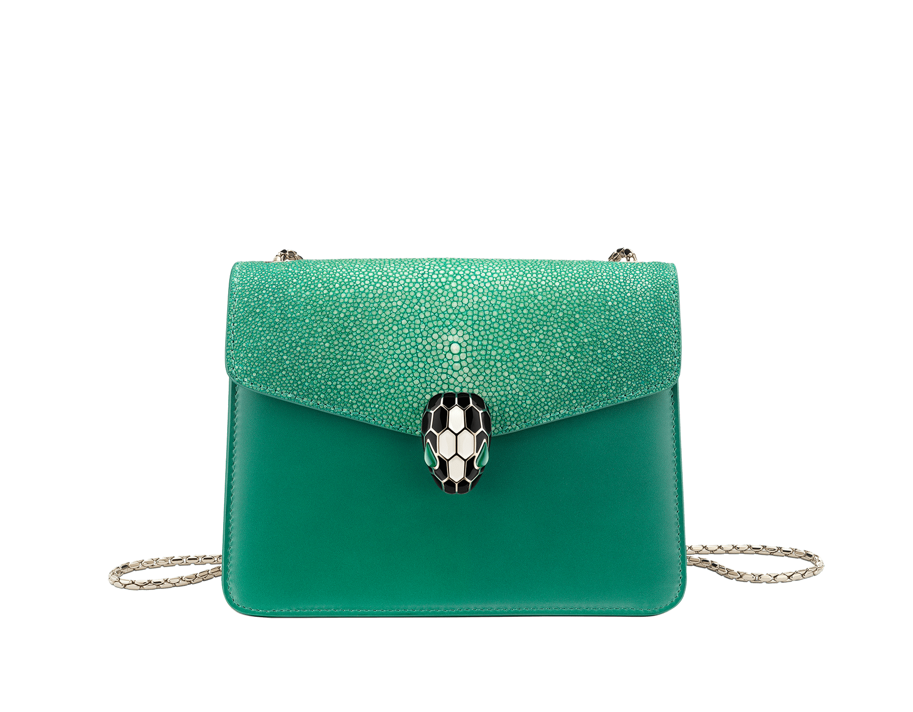 """Serpenti Forever "" crossbody bag in carmine jasper galuchat skin and calf leather. Iconic snakehead closure in light gold plated brass enriched with black and white enamel and green malachite eyes 422-Ga image 2"