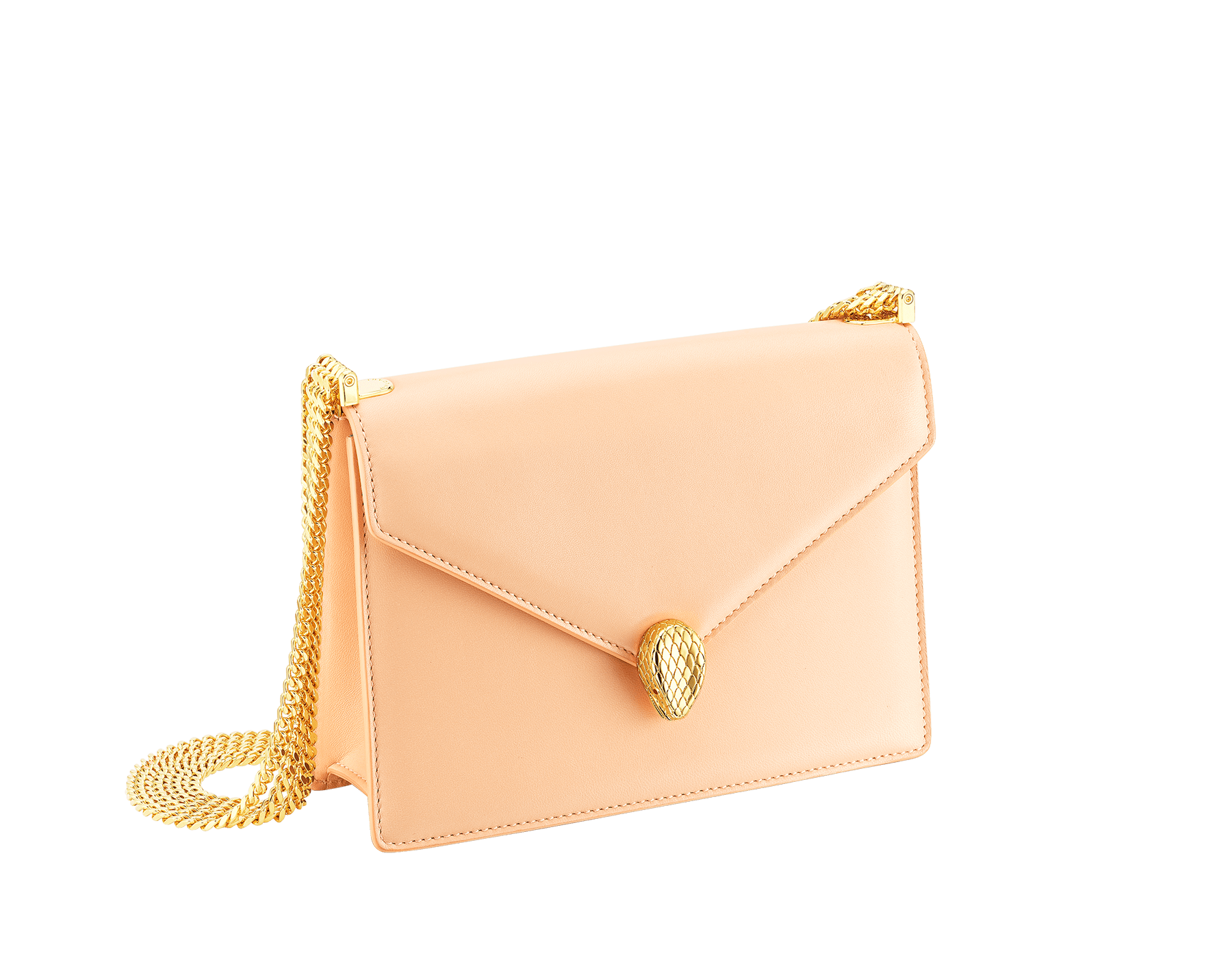 """Serpenti Forever"" multichain shoulder bag in peach ""Papier"" nappa leather, with Lavender Amethyst lilac nappa leather inner lining. New Serpenti head closure in gold-plated brass, finished with red enamel eyes. 1107-NP image 2"