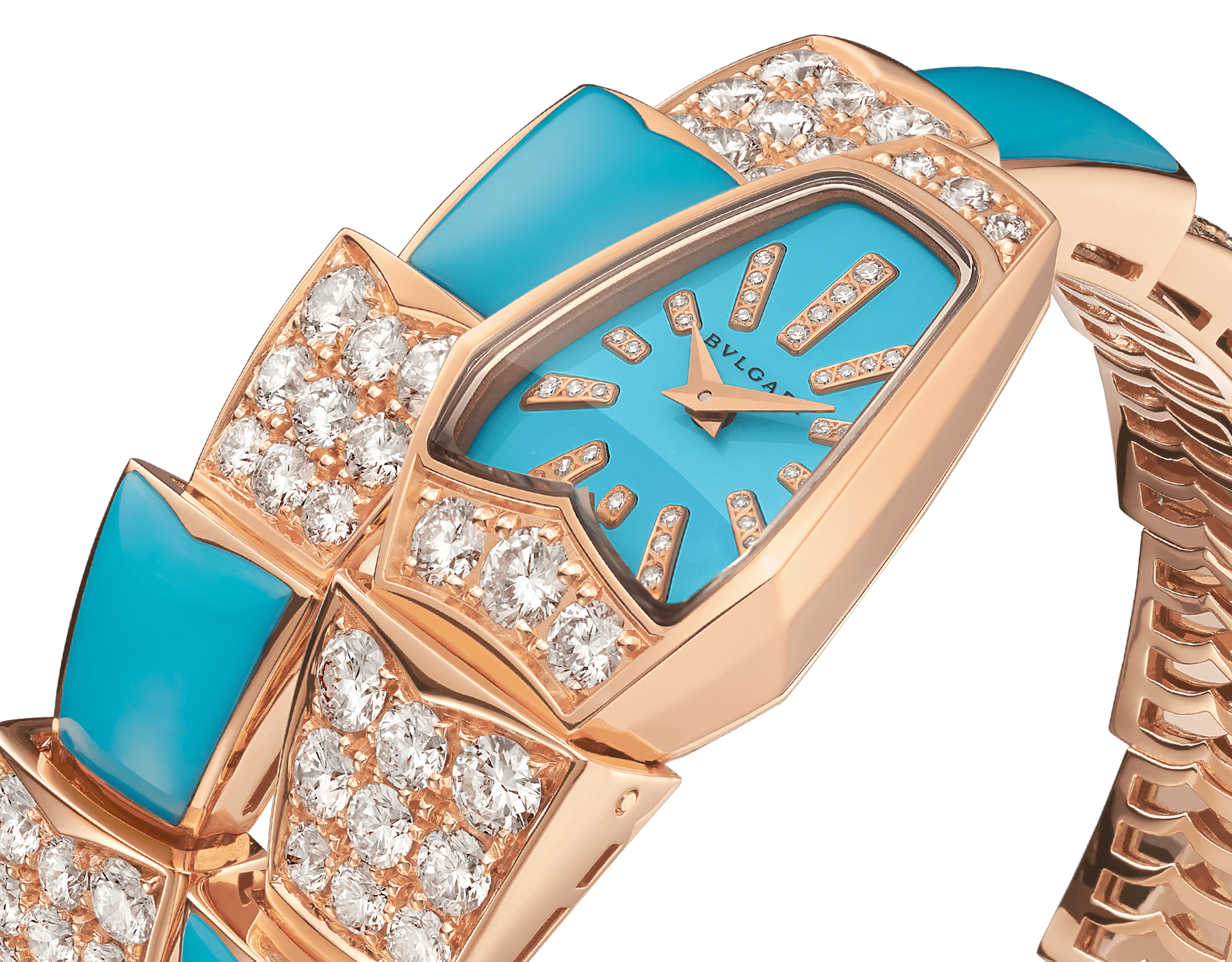 Serpenti Jewellery Watch with 18 kt rose gold case set with brilliant cut diamonds, turquoise lacquered dial, diamond indexes, 18 kt rose gold single spiral bracelet set with brilliant cut diamonds and turquoise elements. 102786 image 2