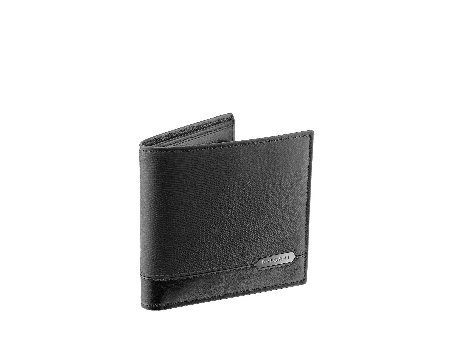 Kompaktes Serpenti Scaglie Herren-Portemonnaie aus jadegrünem aufgerauten Kalbsleder und schwarzem Kalbsleder. Graviertes Bvlgari Logo auf der sechseckigen Scaglie-Metallplakette mit dunklem Ruthenium-Finish. 581-WLT-ITAL image 1