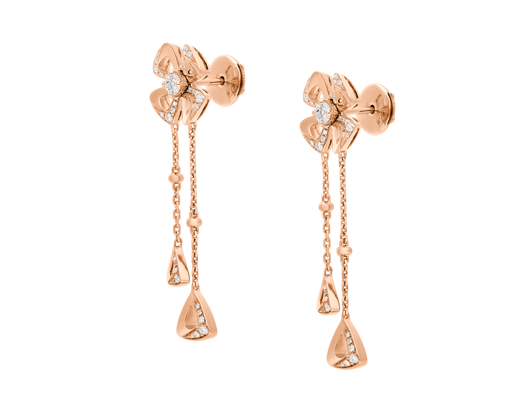 Fiorever 18 kt rose gold pendant Earring set with two round brilliant-cut diamonds (0.21 ct) and pavé diamonds (0.17 ct) 357143 image 2