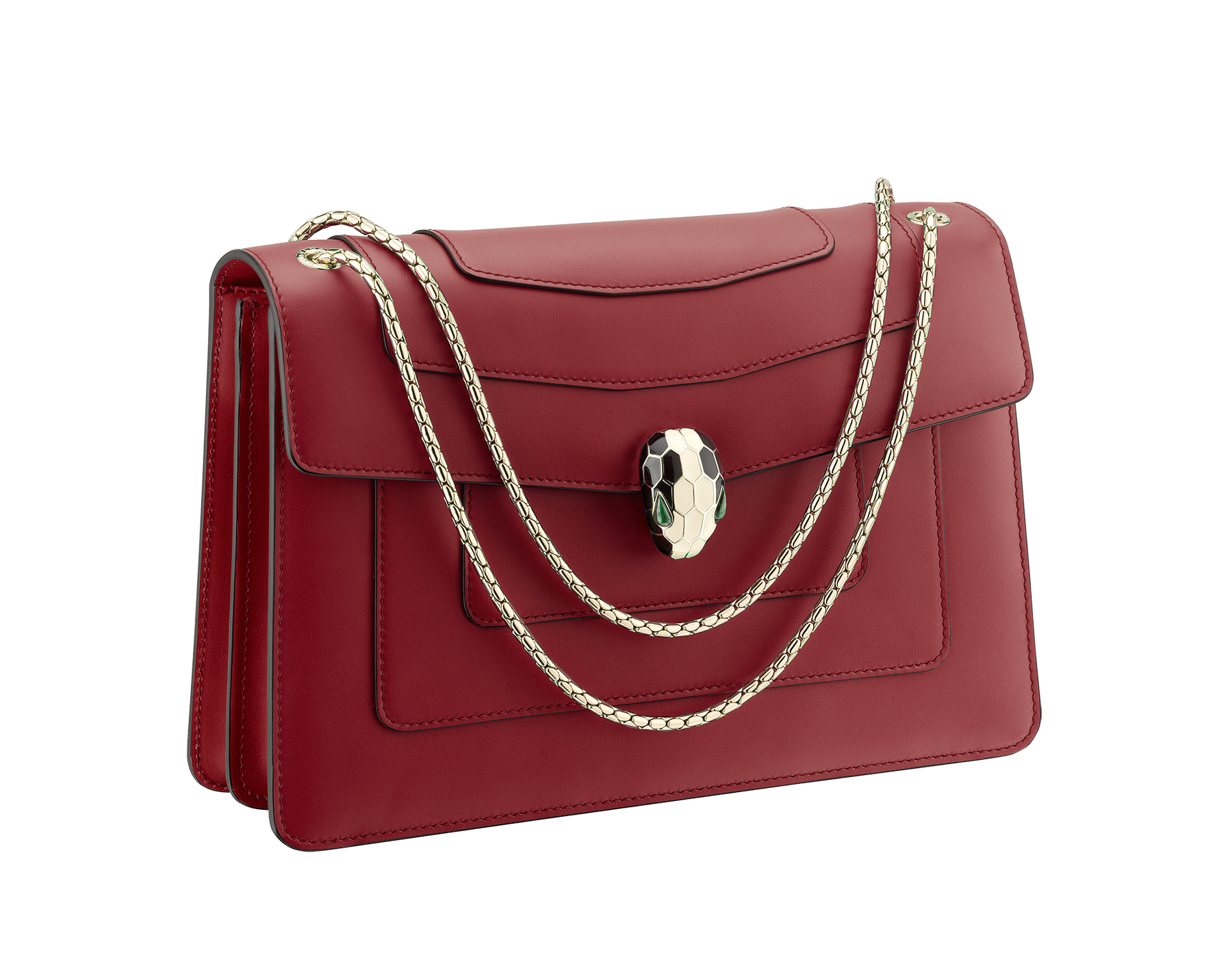 Flap cover bag Serpenti Forever in Roman garnet calf leather. Brass light gold plated snake head closure in black and white enamel with eyes in green malachite. 521-CLc image 2