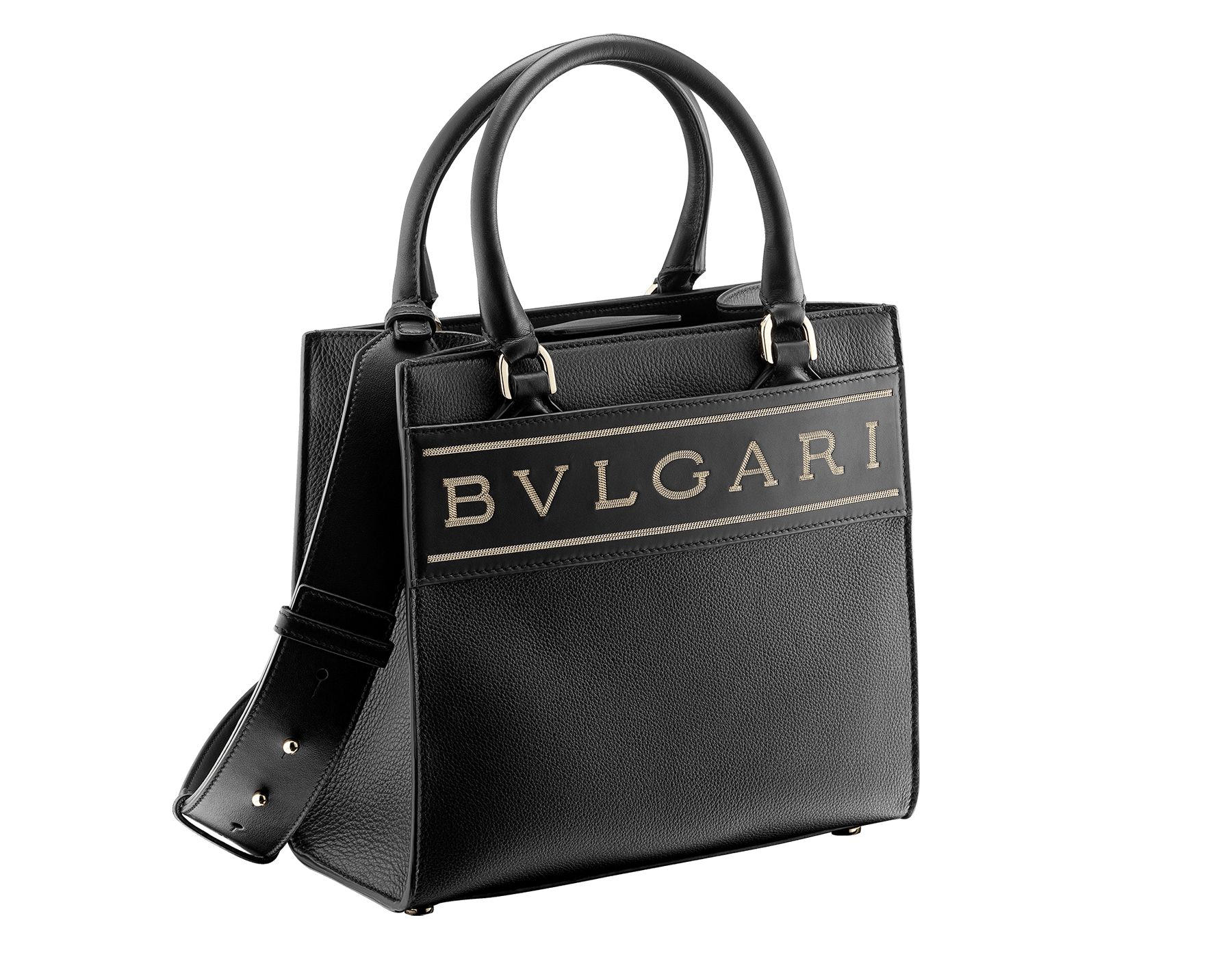 """""""Bvlgari Logo"""" small tote bag in Ivory Opal white calf leather, with Beet Amethyst purple grosgrain inner lining. Bvlgari logo featured with light gold-plated brass chain inserts on the Ivory Opal white calf leather. BVL-1159-CL image 2"""