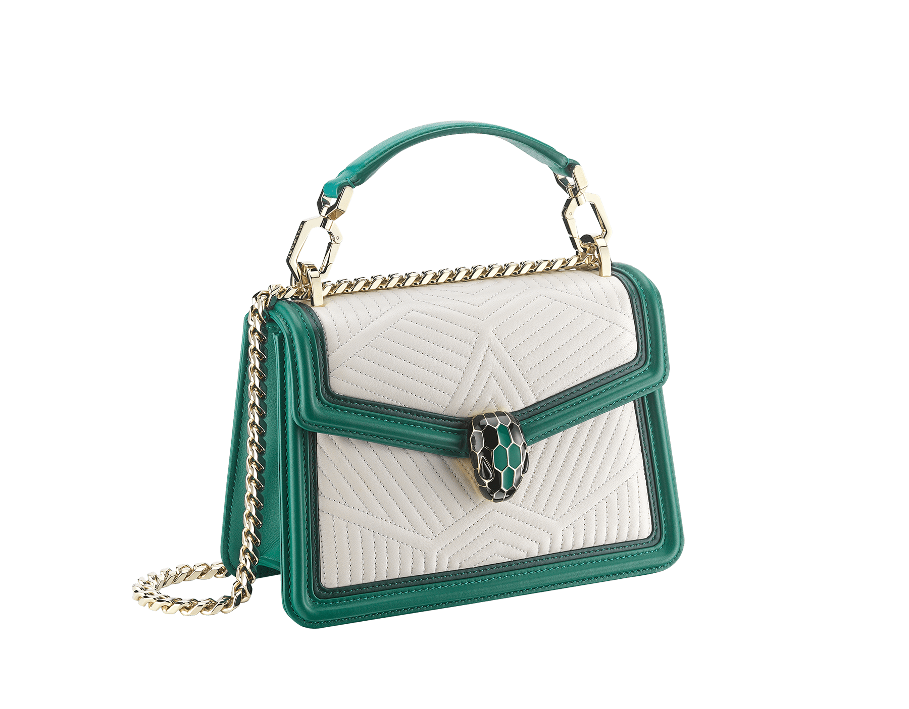"""Serpenti Diamond Blast"" top handle bag in white agate quilted nappa leather and emerald green smooth calf leather frames. Iconic snakehead closure in light gold-plated brass enriched with matte black and shiny emerald green enamel and black onyx eyes. 289944 image 2"