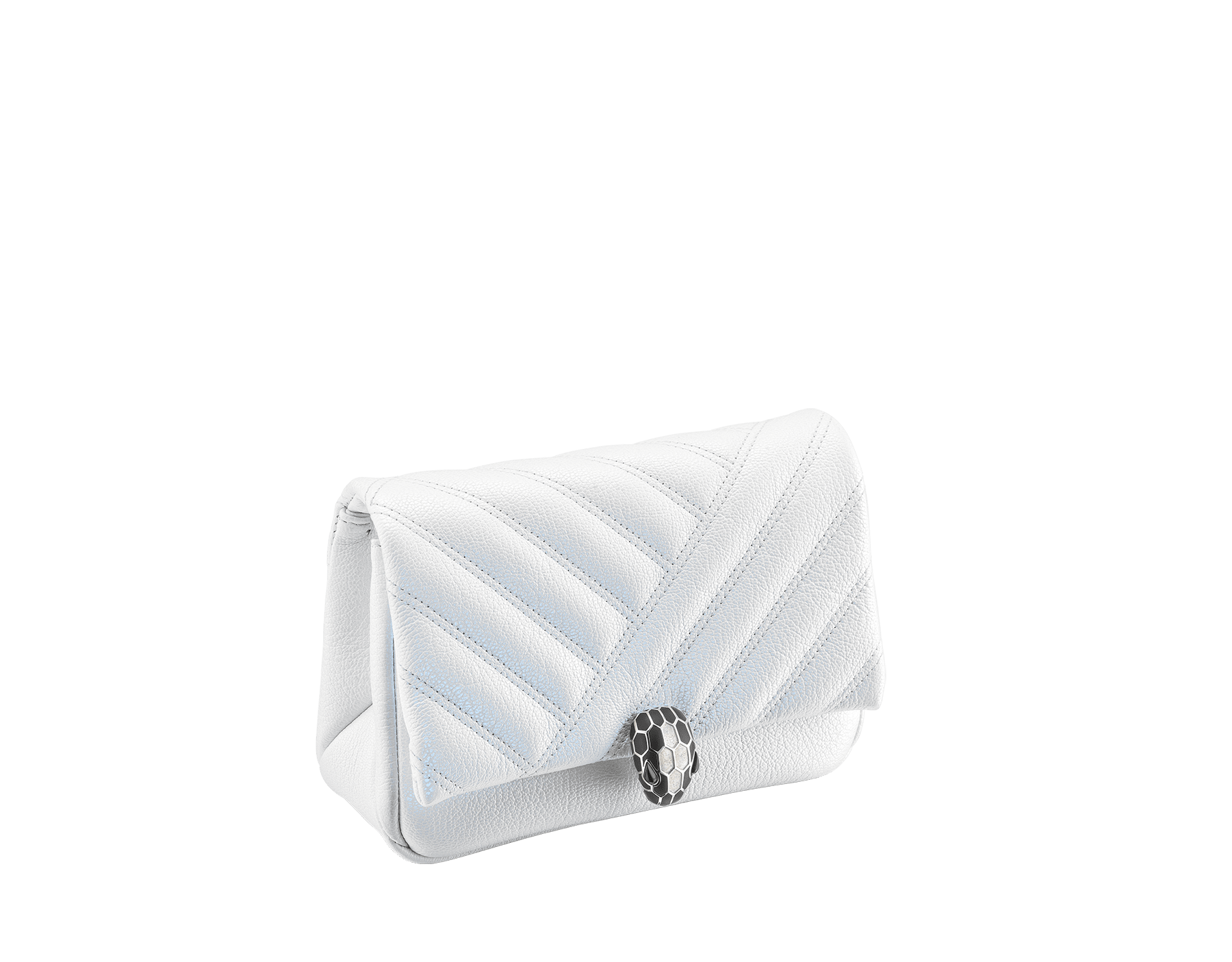 """Serpenti Cabochon"" micro bag in soft matelassé white agate goatskin with a pearled and iridescent effect, with a graphic motif. Brass palladium plated tempting snakehead closure in matte black and shiny white agate enamel and black onyx eyes. 289848 image 2"