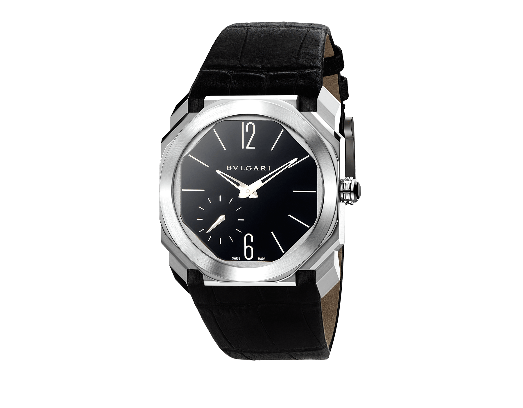 Octo Finissimo watch with extra thin mechanical manufacture movement, manual winding, small seconds and back-side power reserve, platinum case, black lacquered dial and black alligator bracelet. 102028 image 1