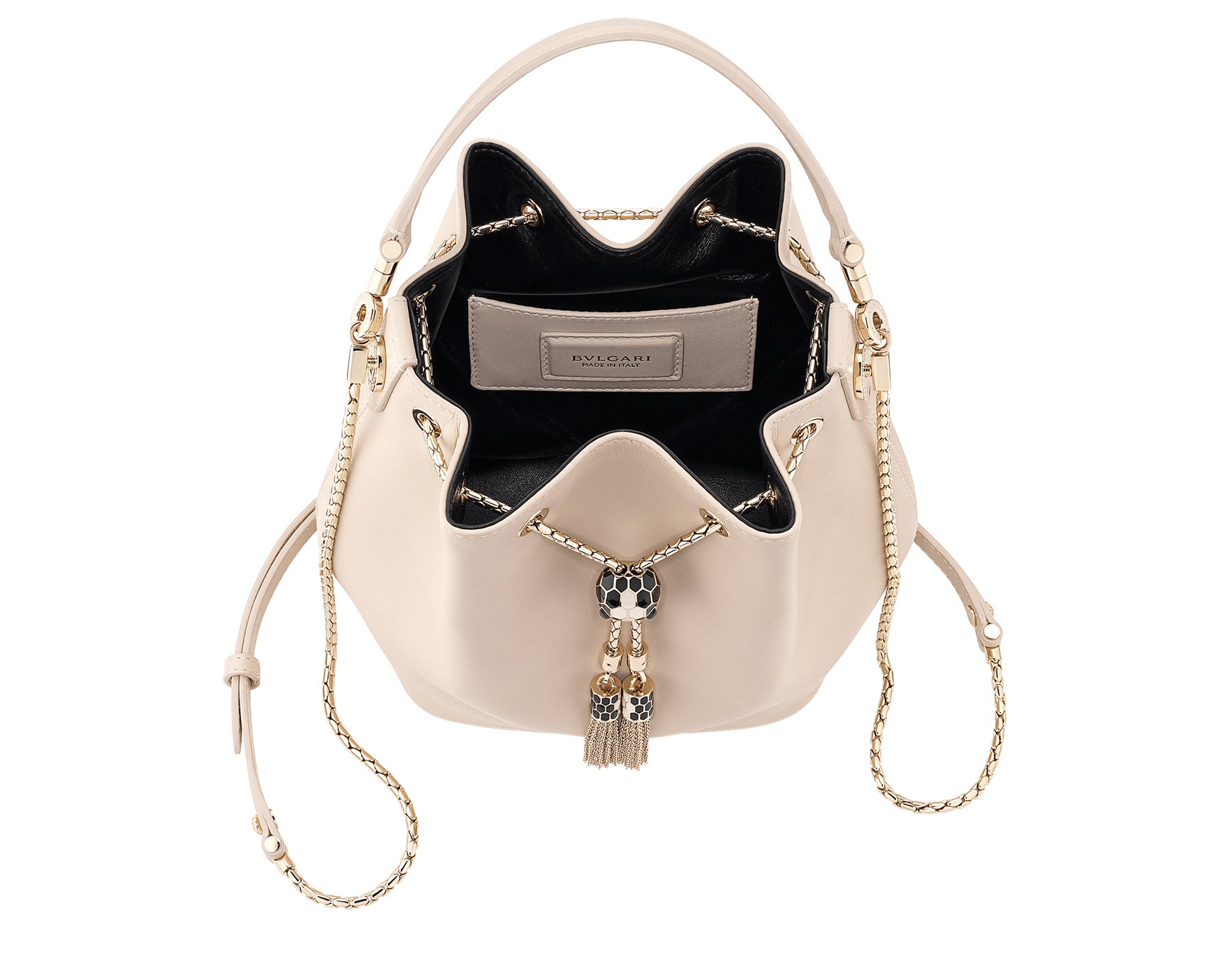 Bucket Serpenti Forever in glacier turquoise smooth calf leather and crystal rose nappa internal lining. Hardware in light gold plated brass and snakehead closure in black and white enamel, with eyes in black onyx. 934-CLb image 4