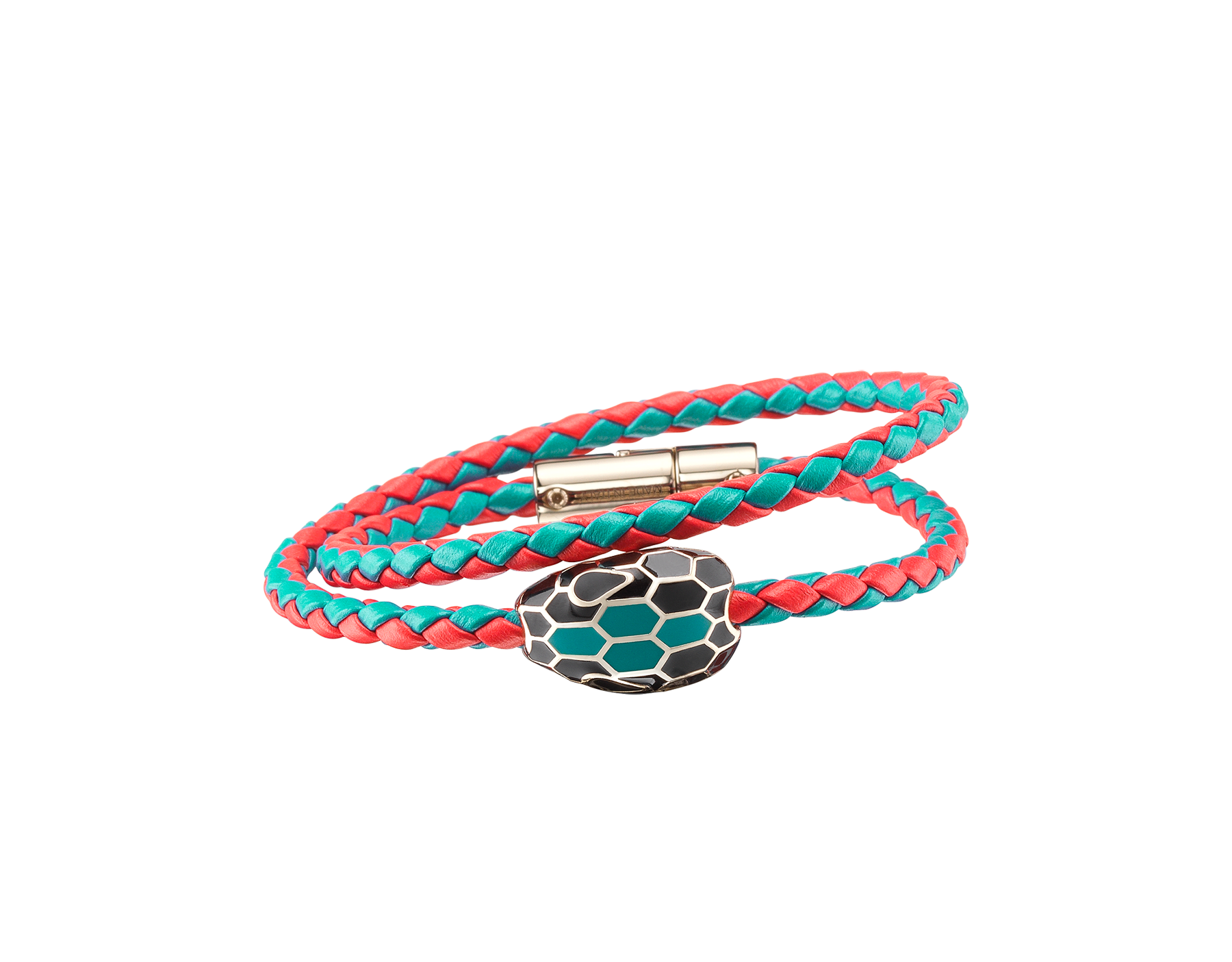 Serpenti Forevermulti-coiled braid bracelet in tropical tourquoise and sea star coral woven calf leather with an iconic snakehead décor in black and tropical tourquoise enamel. SerpDoubleBraid-WCL-TTSSC image 1