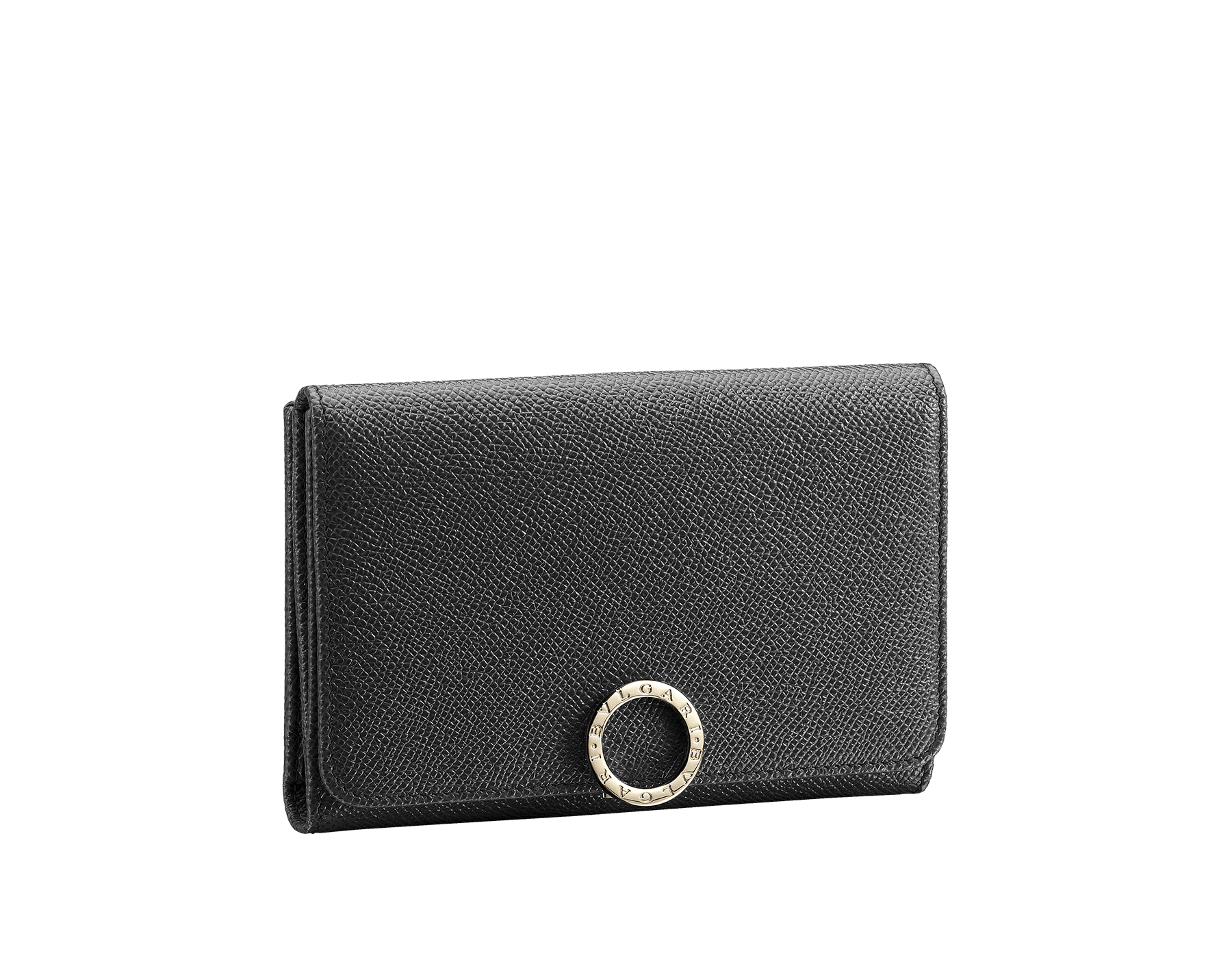 Compact pochette in black bright grain calf leather and black nappa lining. Brass light gold plated hardware and iconic Bulgari Bulgari closure clip. 280555 image 1