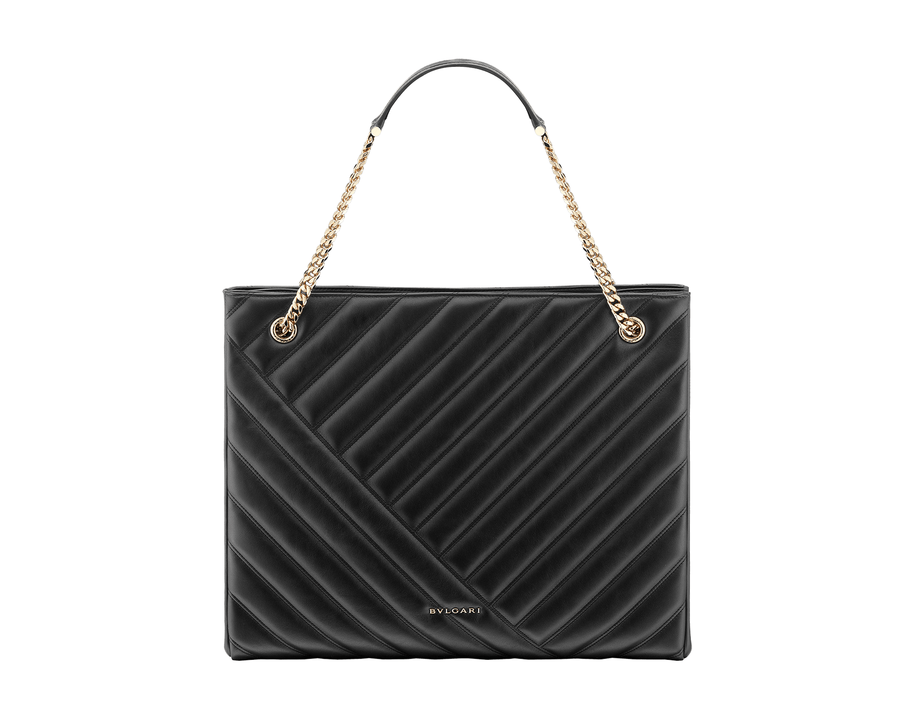 Serpenti Cabochon tote bag in soft matelassé black nappa leather with graphic motif and black calf leather. Snakehead decòr in rose gold plated brass embellished with matte black and shiny black enamel, and black onyx eyes. 287996 image 3