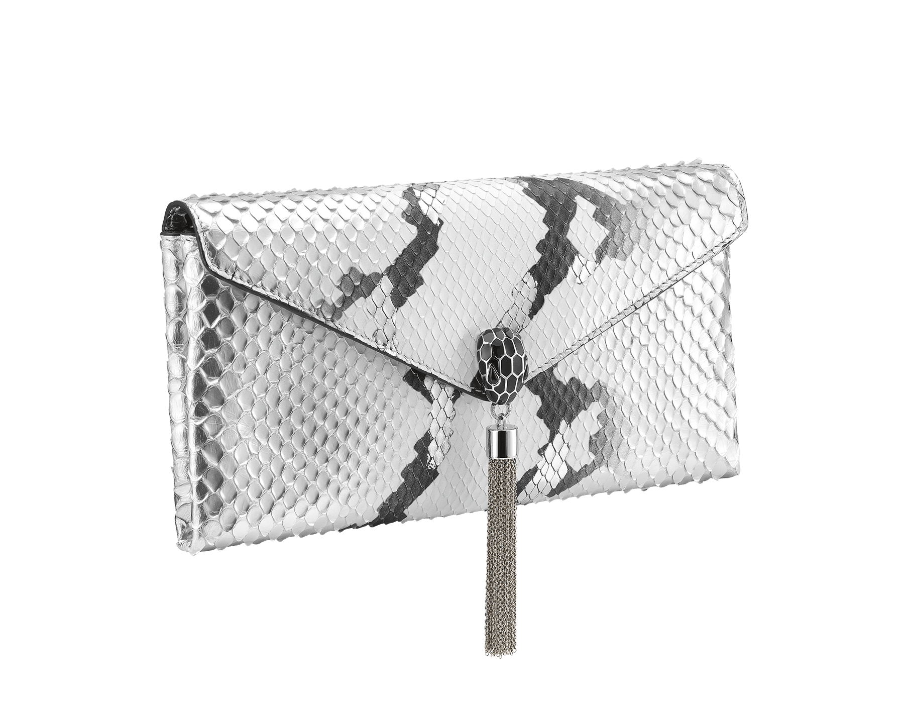 """Serpenti"" evening clutch bag in white and silver Ice Glam python skin. Iconic snake head stud closure with tassel in palladium plated brass enriched with black shiny enamel and black onyx eyes. 288976 image 2"