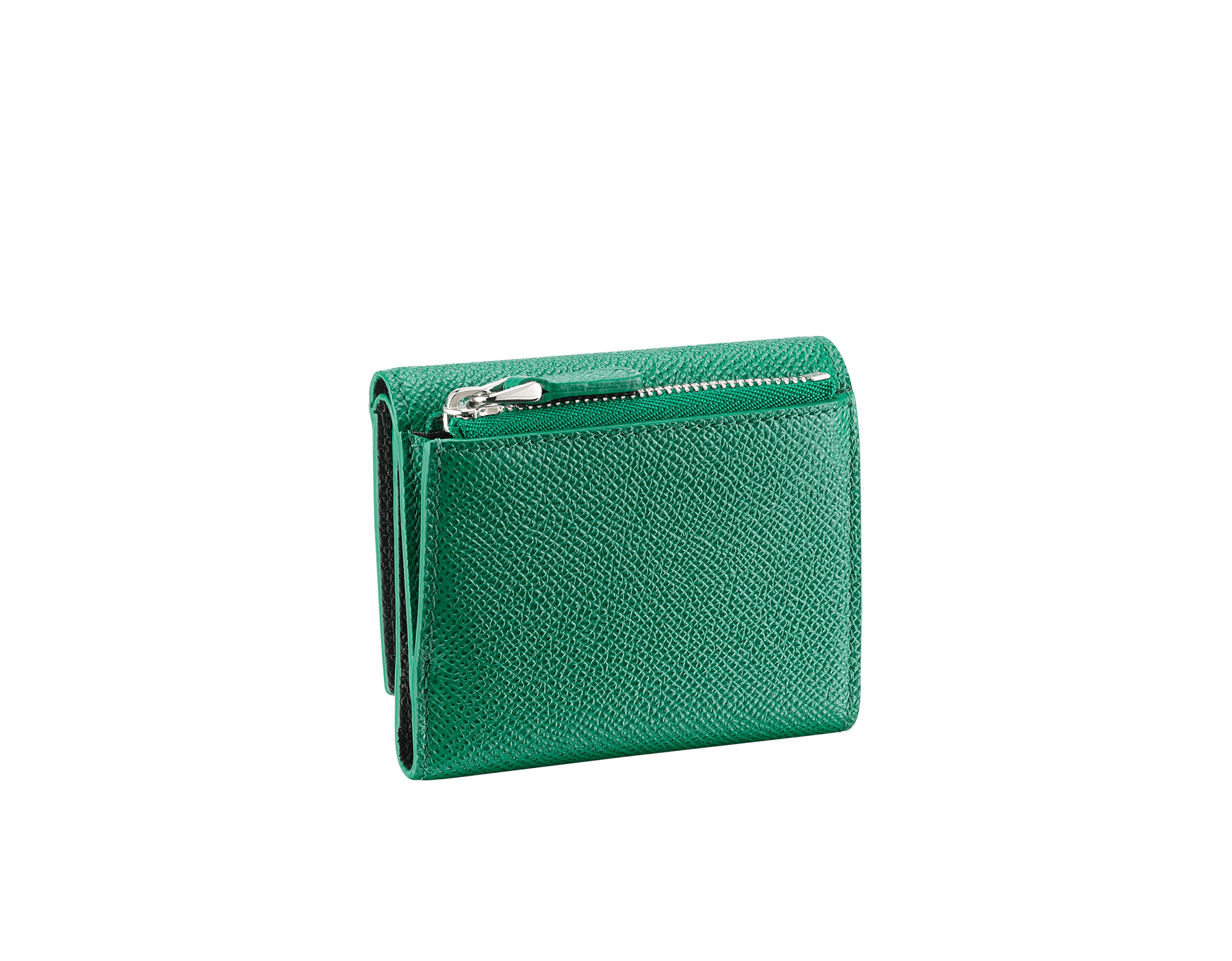 BVLGARI BVLGARI slim compact wallet in emerald green and black grain calf leather. Iconic logo closure clip in palladium plated brass. 289370 image 3