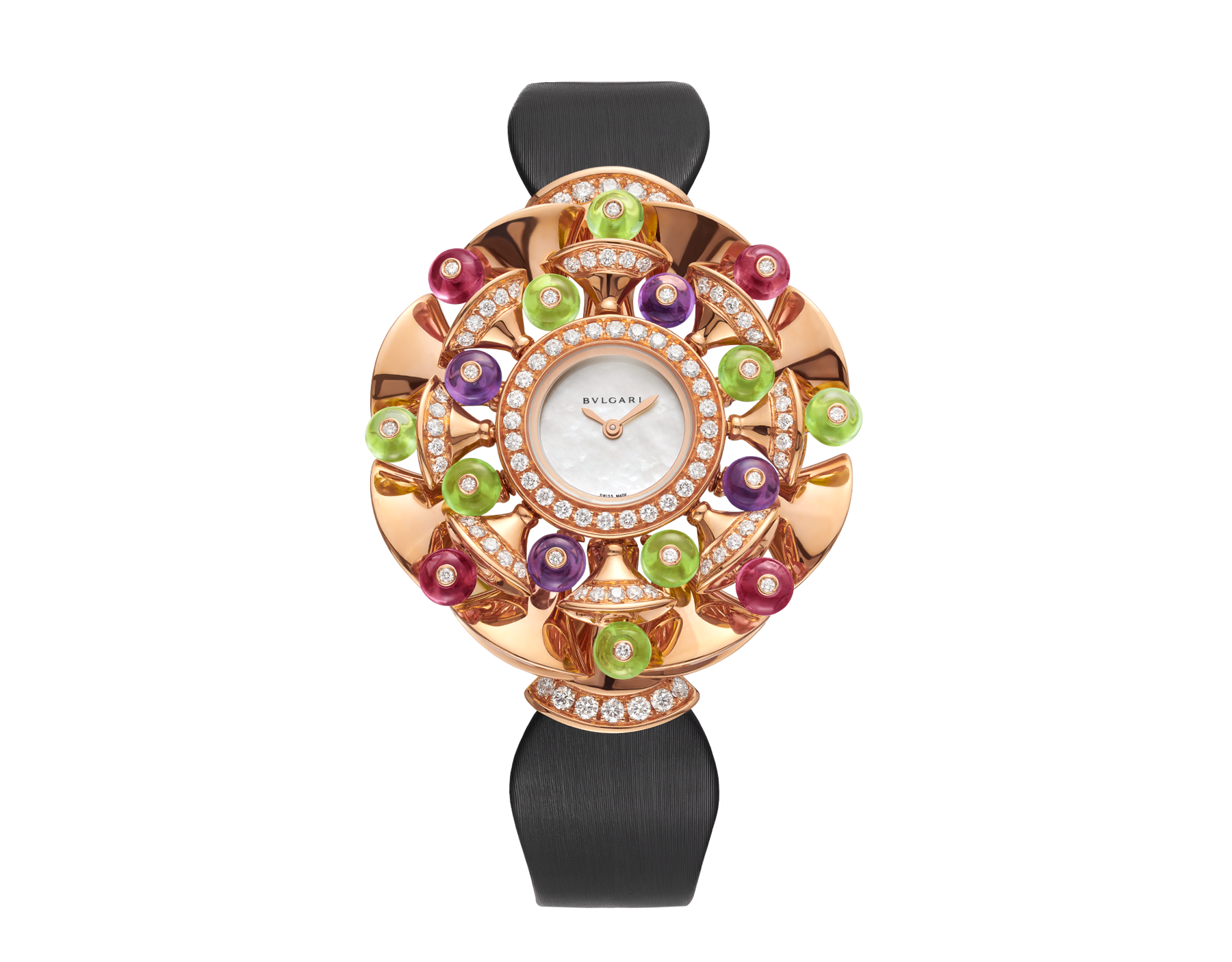DIVAS' DREAM watch with 18 kt rose gold case set with brilliant-cut diamonds, peridot, rubellite and amethyst beads, white mother-of-pearl dial and black satin bracelet 102217 image 1