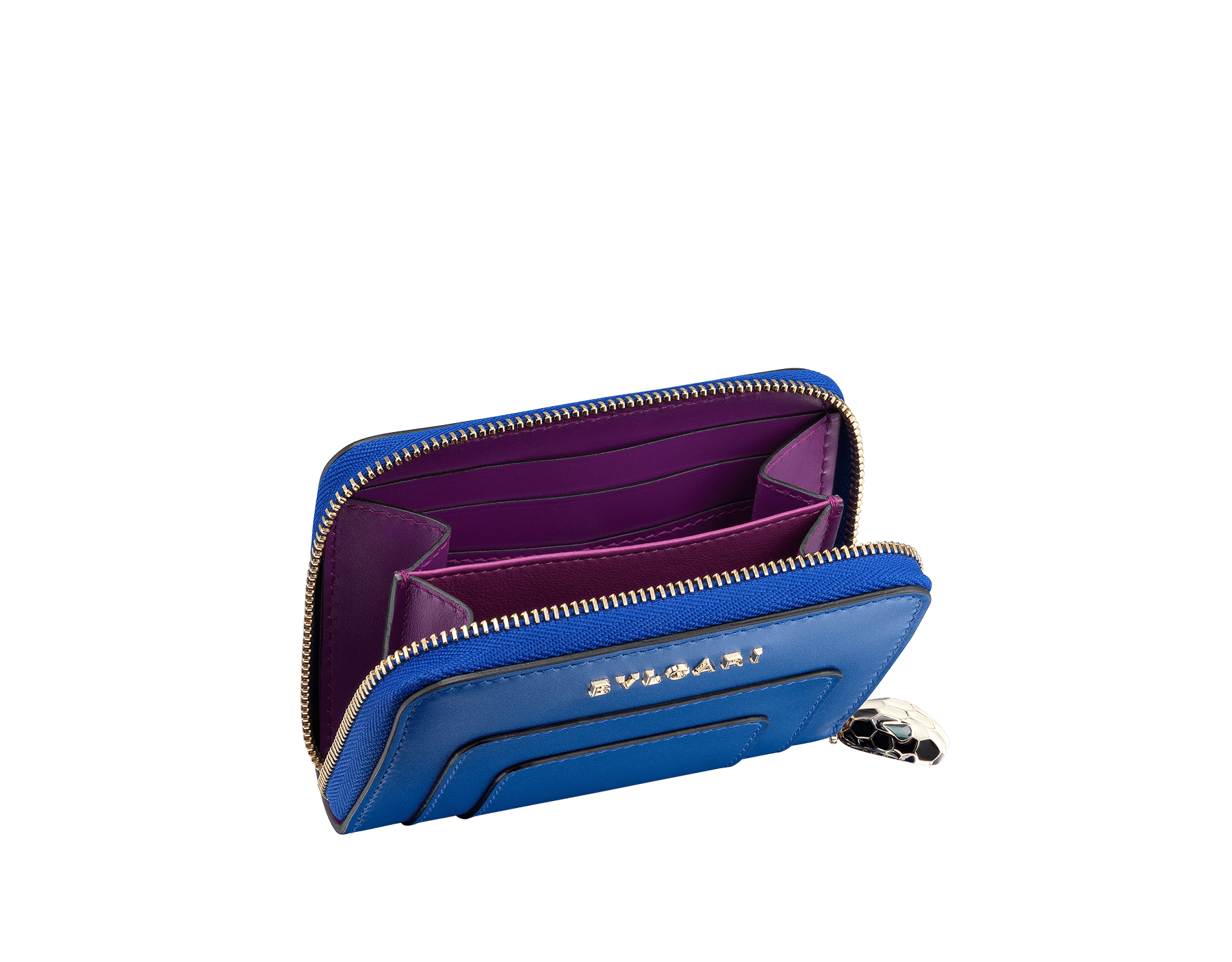 Serpenti Forever 鈷藍碧璽色和水晶紫菀色小牛皮迷你拉鍊皮夾。經典蛇頭拉鍊飾以黑色和白色琺瑯,蛇眼飾以綠色琺瑯。 287152 image 2