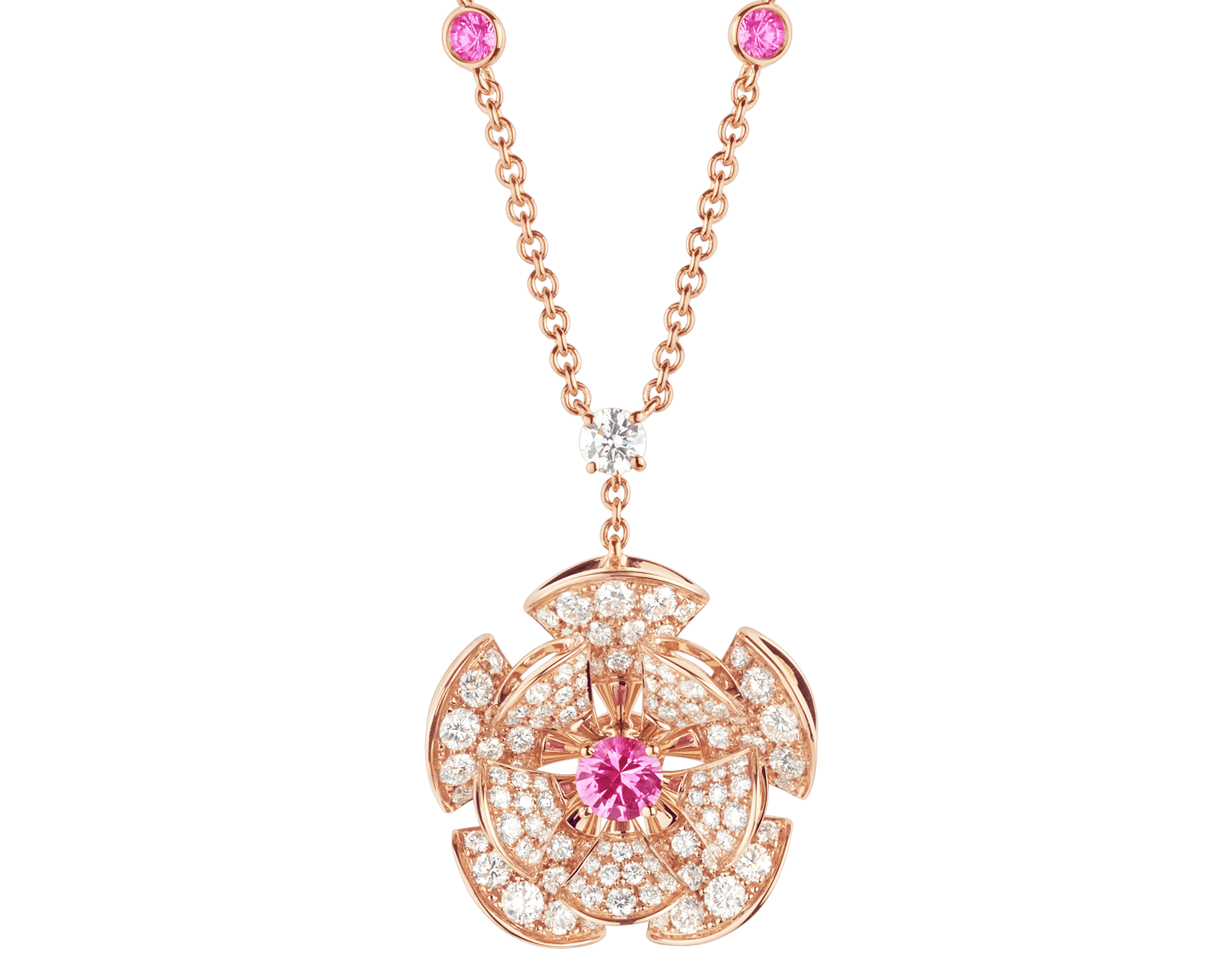 DIVAS' DREAM necklace in 18 kt rose gold with chain set with pink sapphires and a diamond, and with a pendant set with a central pink sapphire and pavé diamonds. 352628 image 1