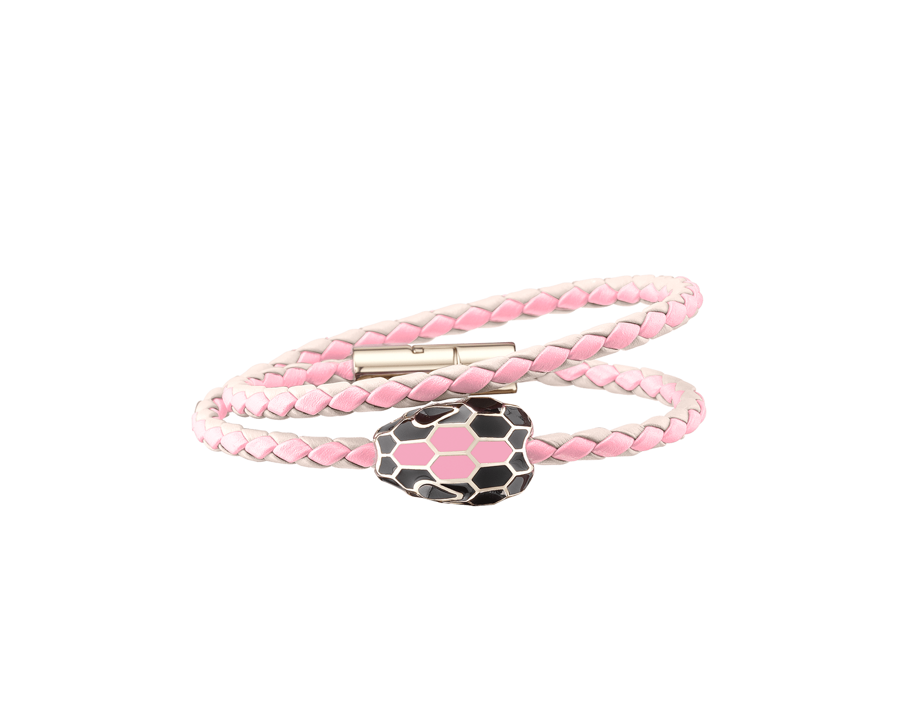 Pulseira trançada de várias voltas Serpenti Forever em couro de novilho entrelaçado opala-leitosa e quartzo-flamingo com icônica decoração de cabeça de serpente em esmalte preto e opala-leitosa. 288347 image 1