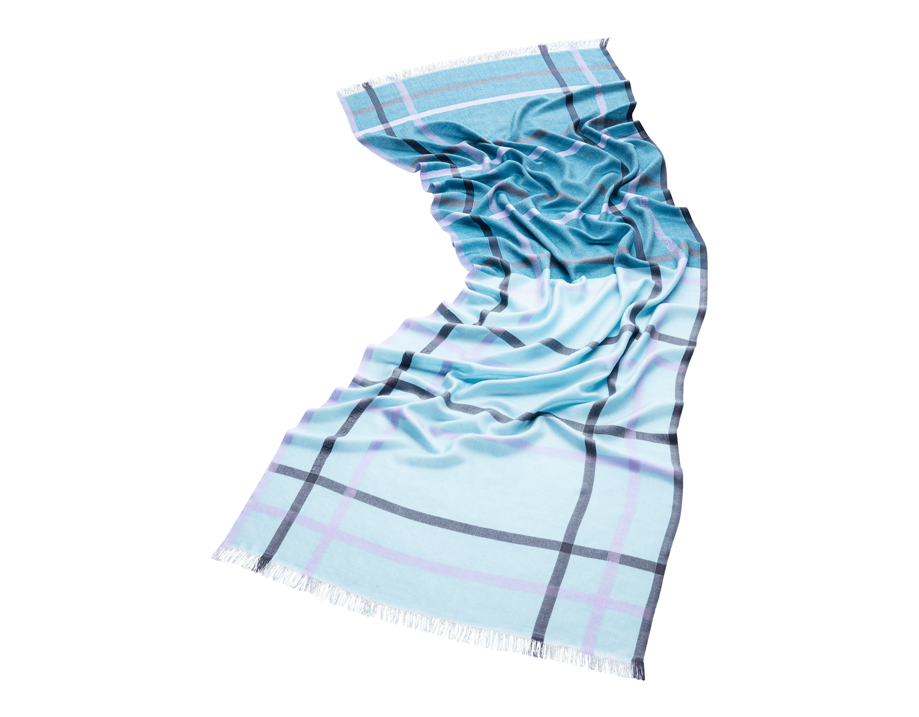 Палантин Check голубого цвета, тонкий шелк. 243933 image 1
