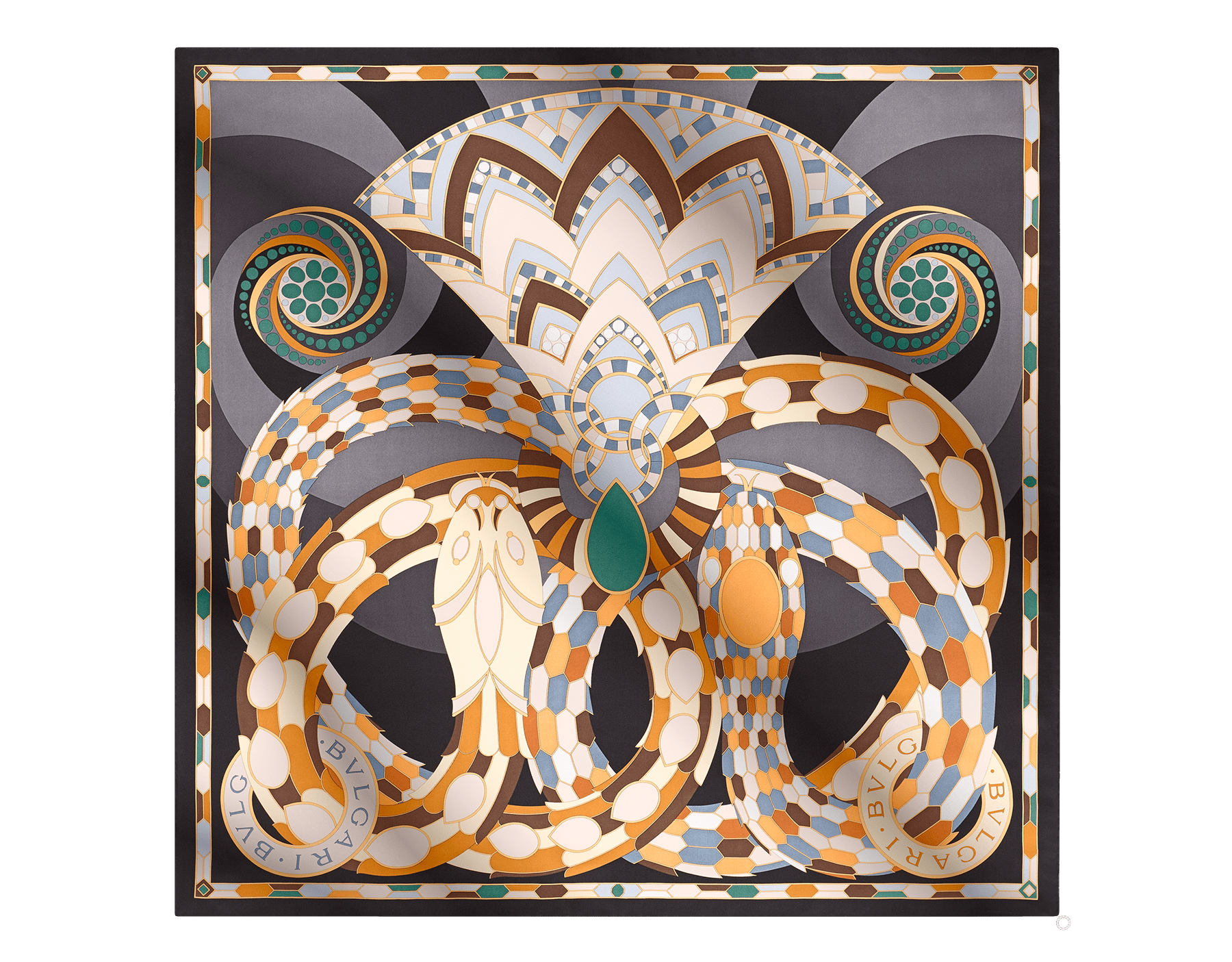 "Featuring a rich collection of symbols like the snake, the ""Cleopatra"" scarf creatively illustrates Bvlgari's history through geometric patterns and eye-catching colour combinations. Crafted in fine black silk twill, the scarf is entirely handmade in Italy. 90 x 90 cm - 35.4 x 35.4"" CLEOPATRA image 1"
