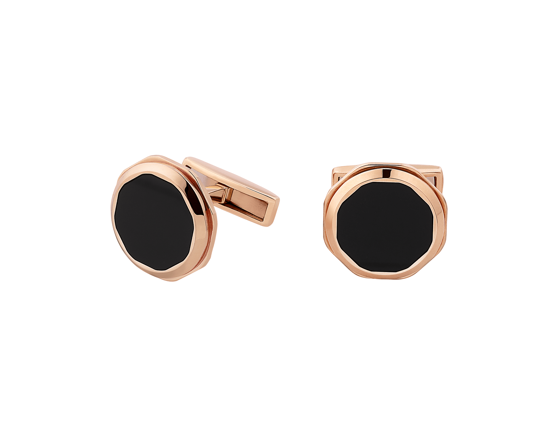 Octo 18 kt rose gold cufflinks set with onyx elements 348330 image 1