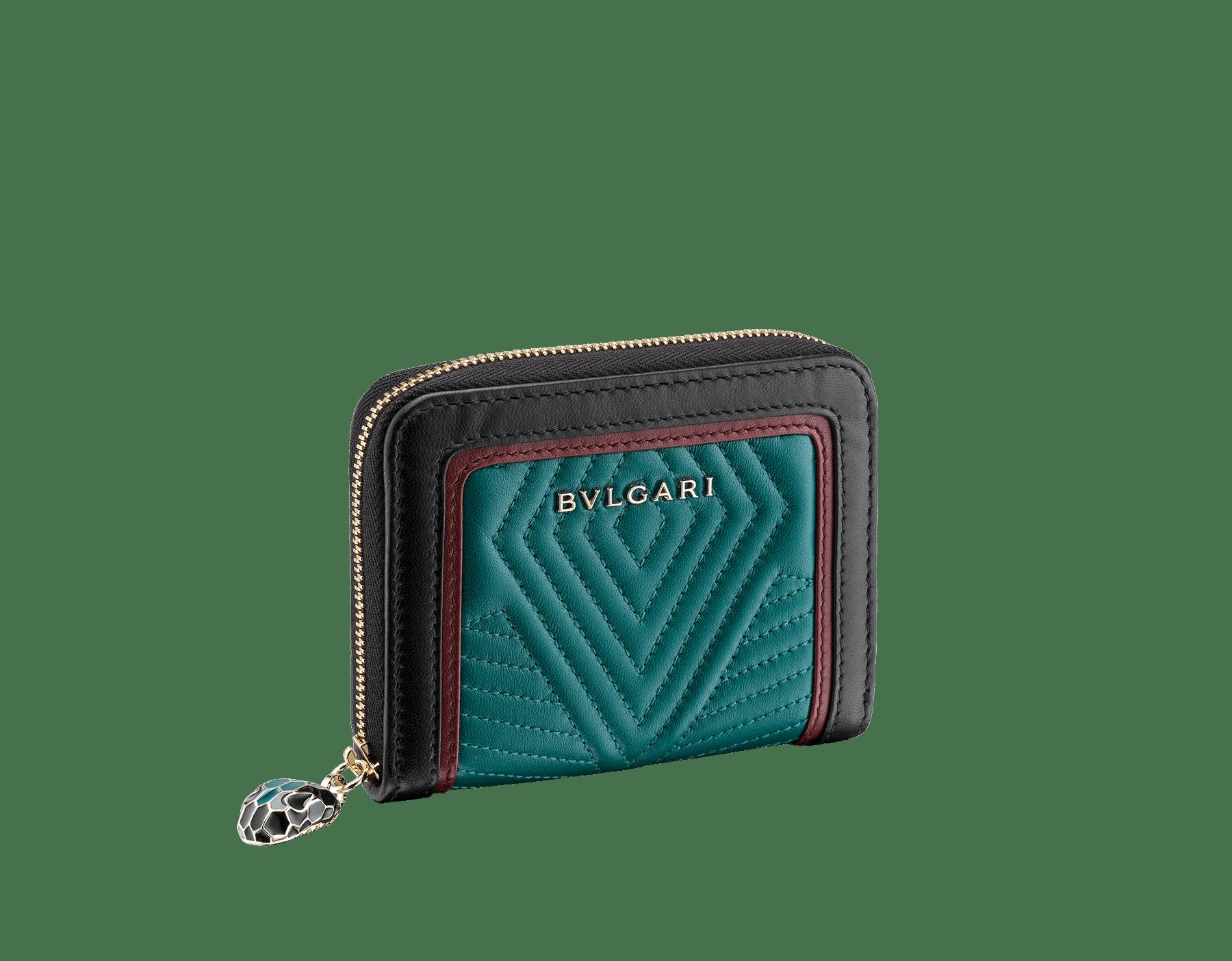 Serpenti Diamond Blast mini zipped wallet in deep jade quilted nappa leather. Iconic snakehead zip puller in black and deep jade enamel, with black enamel eyes. 288149 image 1