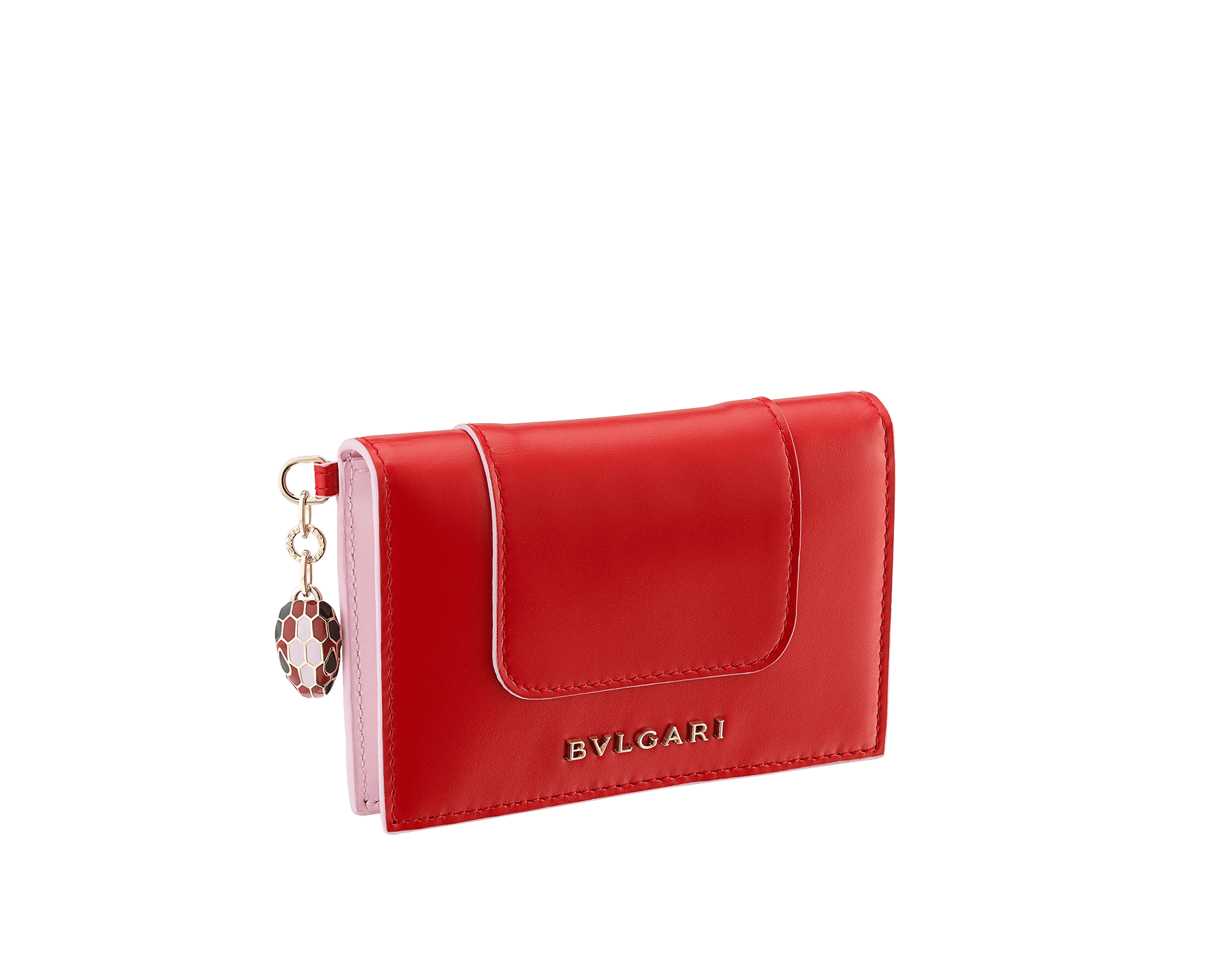Serpenti Forever Celebration Edition folded credit card holder in carmine jasper and rosa di Francia calf leather. Snakehead charm with black, carmine jasper and rosa di Francia enamel, and black enamel eyes. 289553 image 1