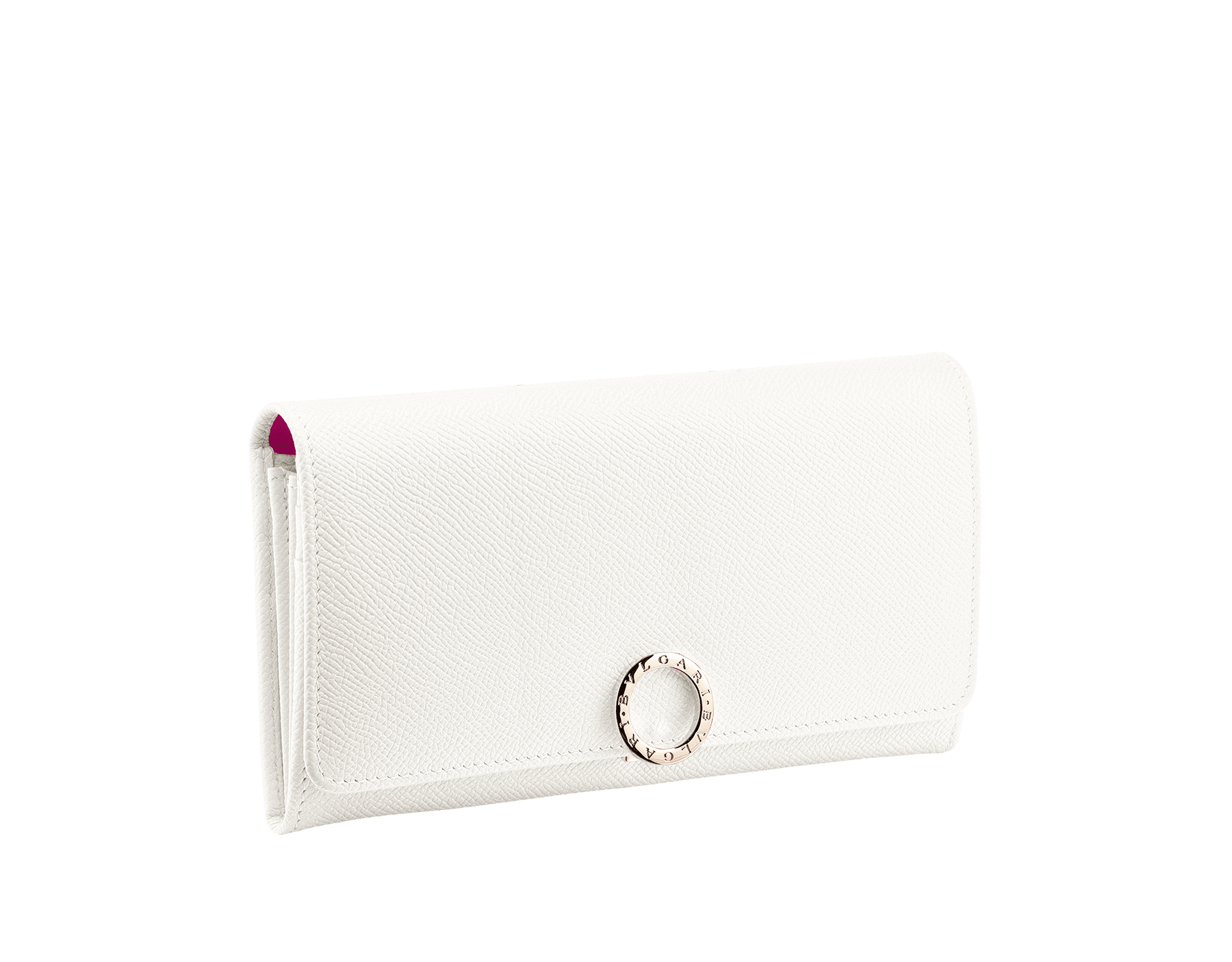 BVLGARI BVLGARI wallet pochette in cobalt tourmaline grain calf leather and aster amethyst nappa leather. Iconic logo closure clip in light gold plated brass 579-WLT-POCHE-16CCc image 1