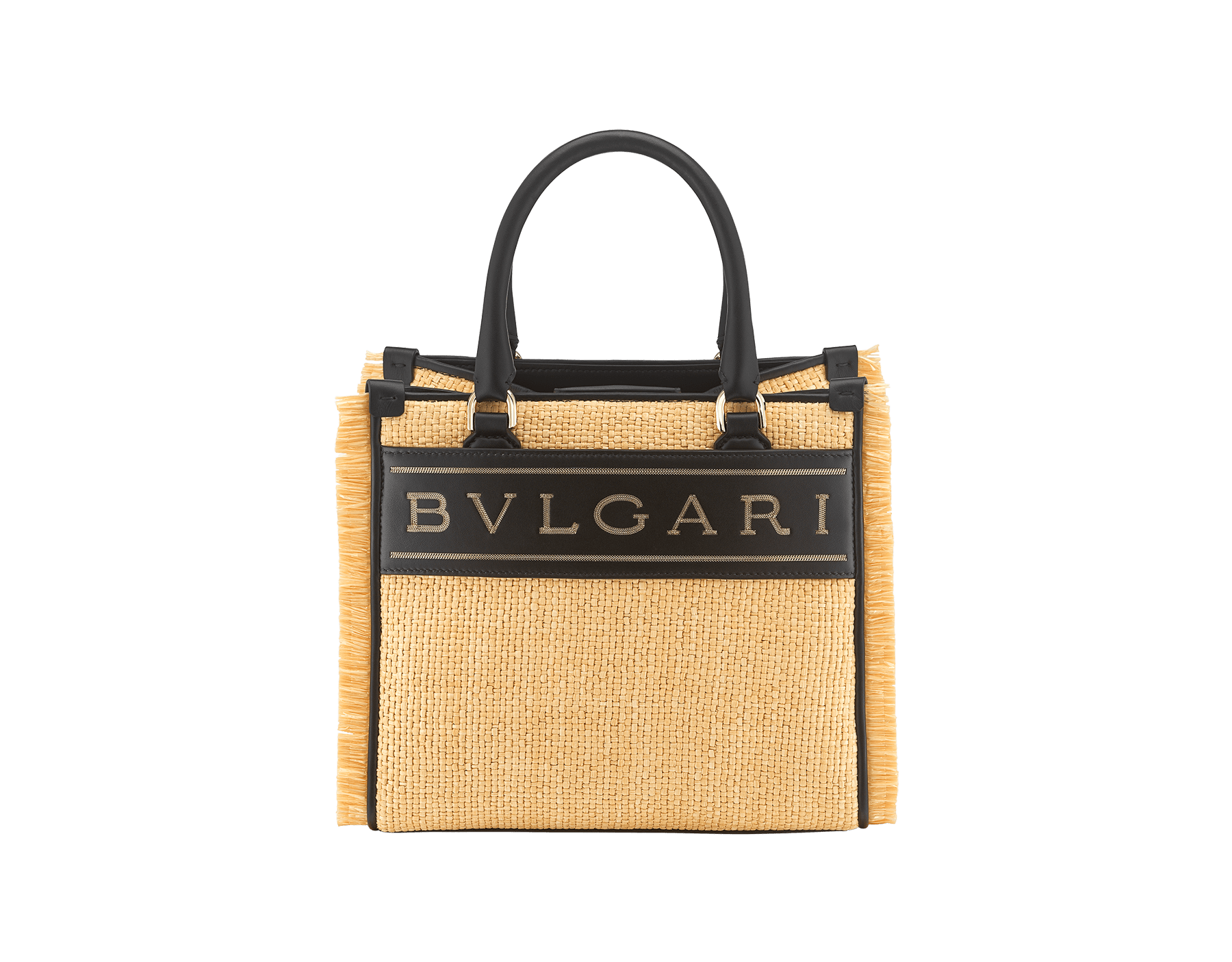 """Bvlgari Logo"" tote bag in beige raffia enhanced with beige raffia fringes, and black grosgrain internal lining. Bvlgari logo featured with chain inserts on the black calf leather. 290953 image 1"