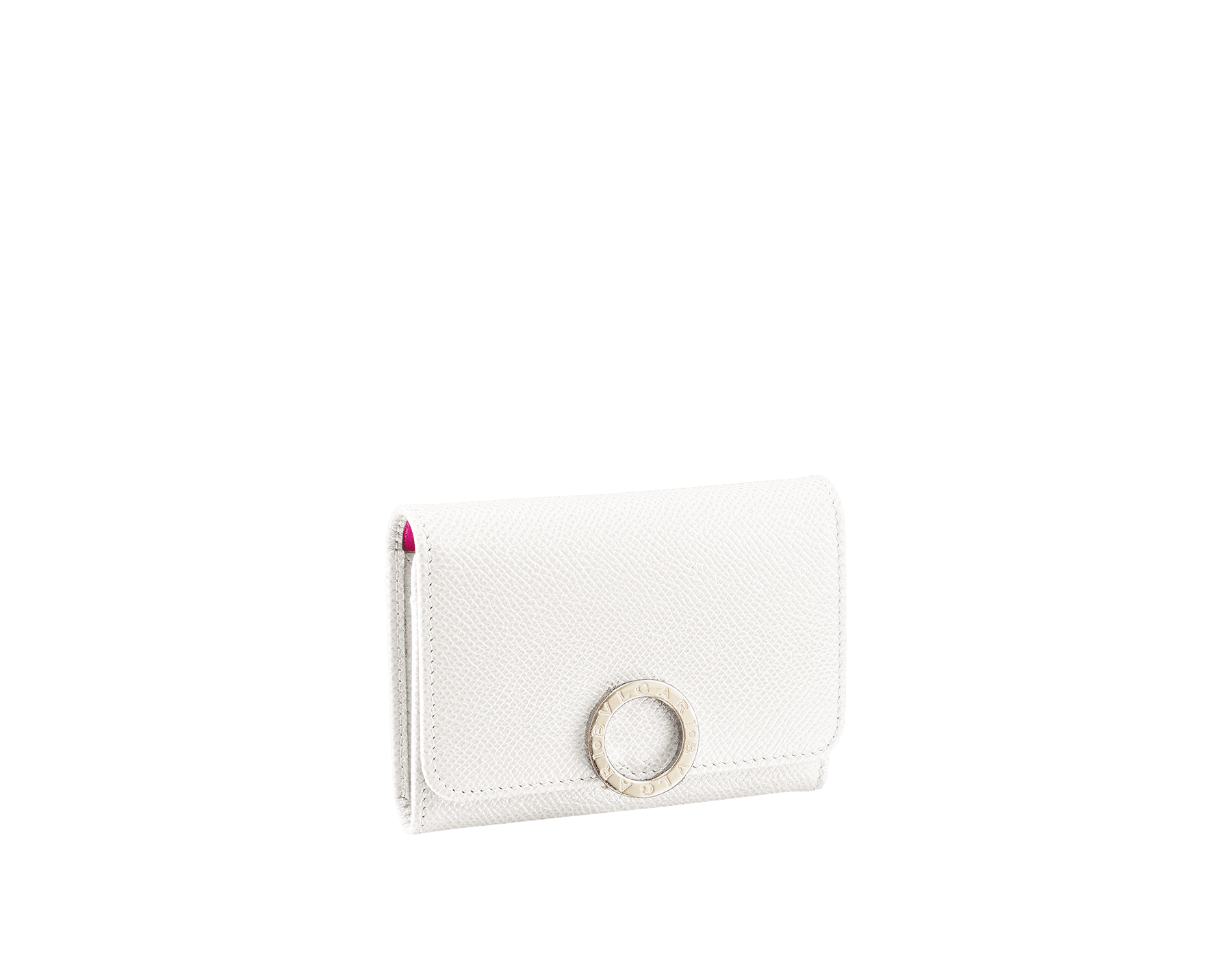 Business card holder in white agate bright grain calf leather, berry tourmaline nappa and tiger's eye nappa lining. Iconic brass light gold plated clip featuring the BVLGARI BVLGARI motif. 282417 image 1