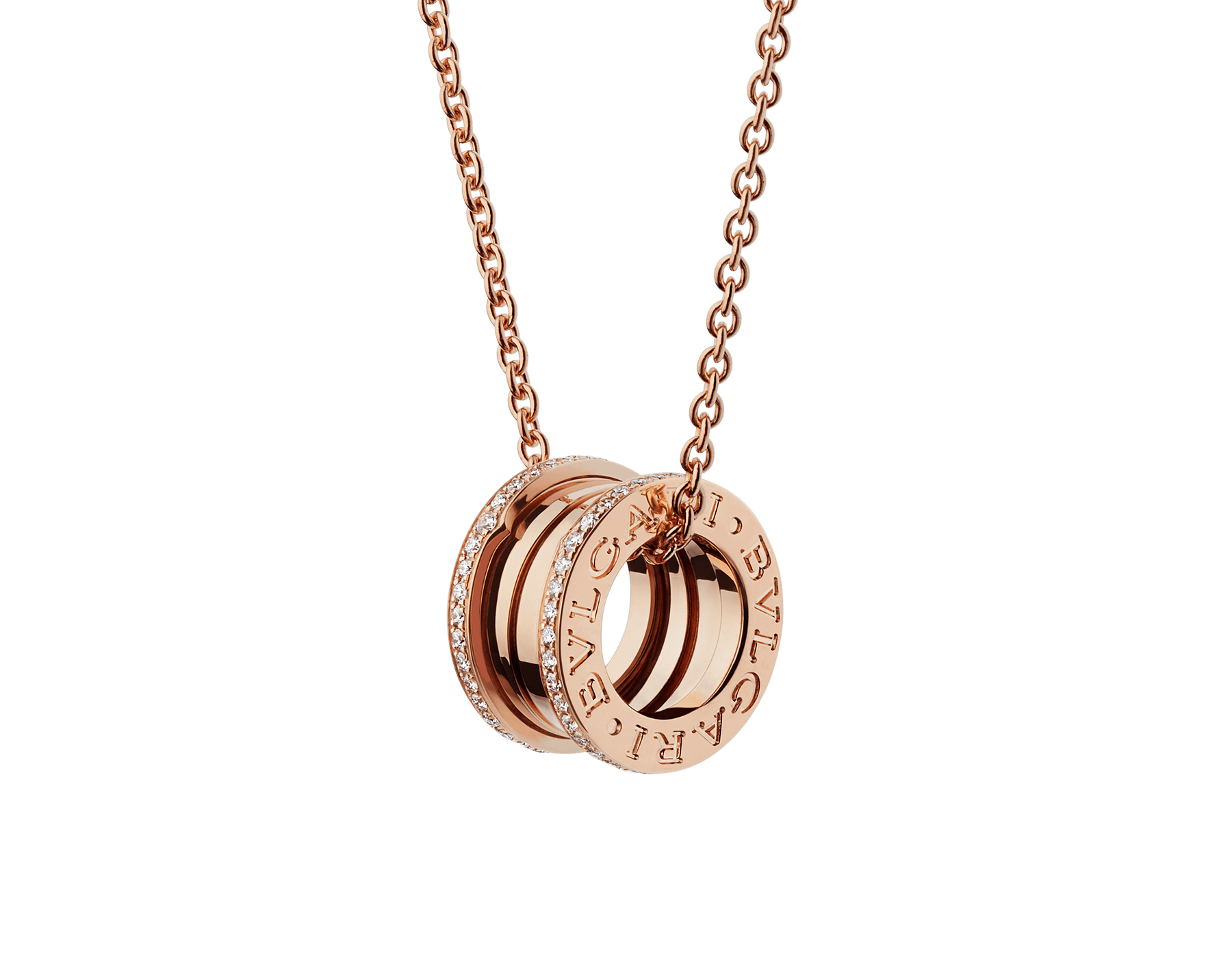 B.zero1 necklace with 18 kt rose gold chain and 18 kt rose gold round pendant set with pavé diamonds on the edges. 350052 image 1