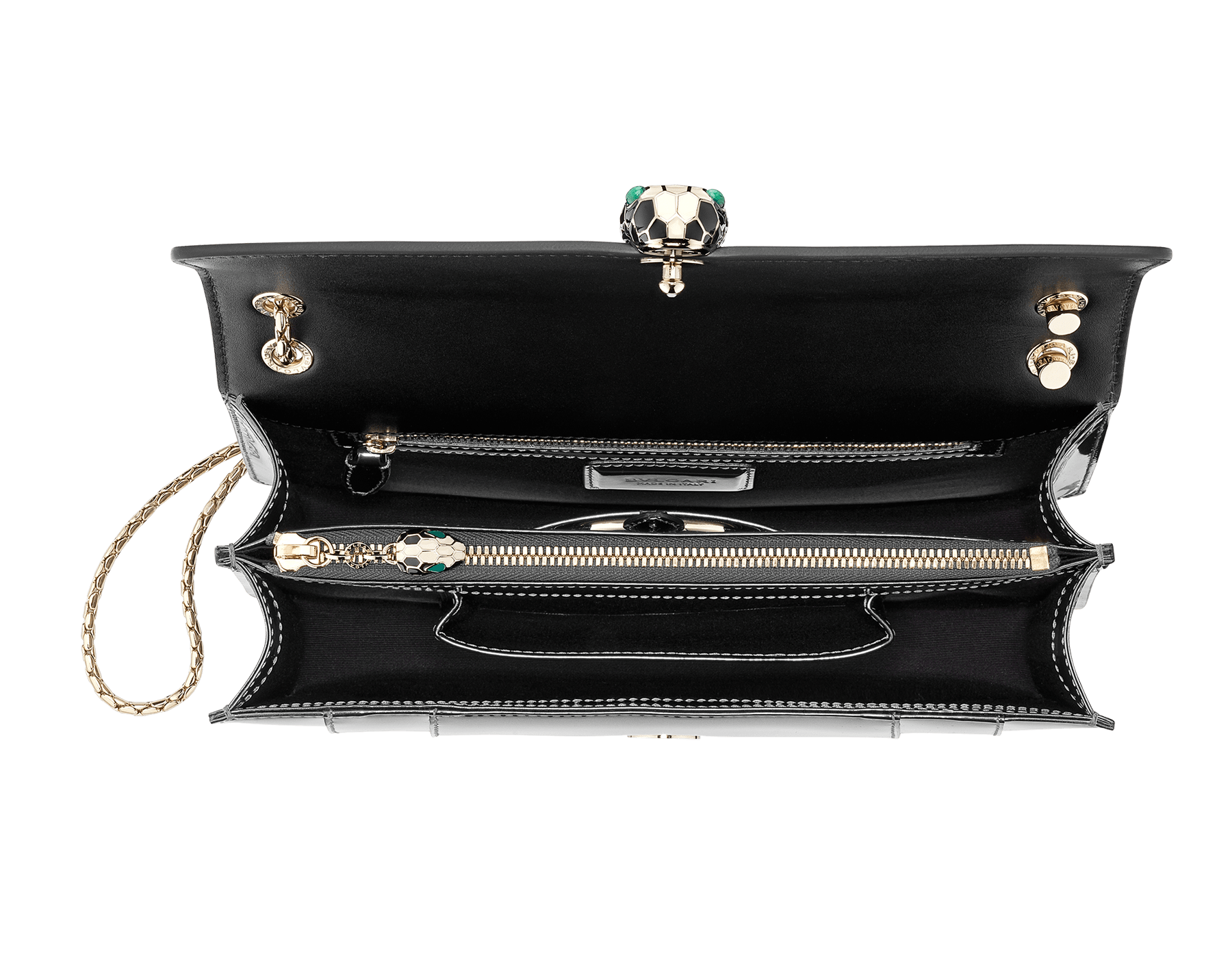 Flap cover bag Serpenti Forever in mirage shiny silver brushed metallic calf leather. Brass light gold plated snake head closure in black and white enamel with eyes in green malachite. 39793 image 4