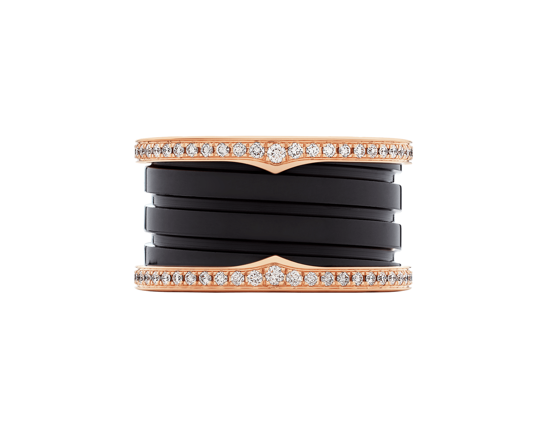 B.zero1 four-band ring with two 18 kt rose gold loops set with pavé diamonds on the edges and a black ceramic spiral. B-zero1-4-bands-AN857029 image 3