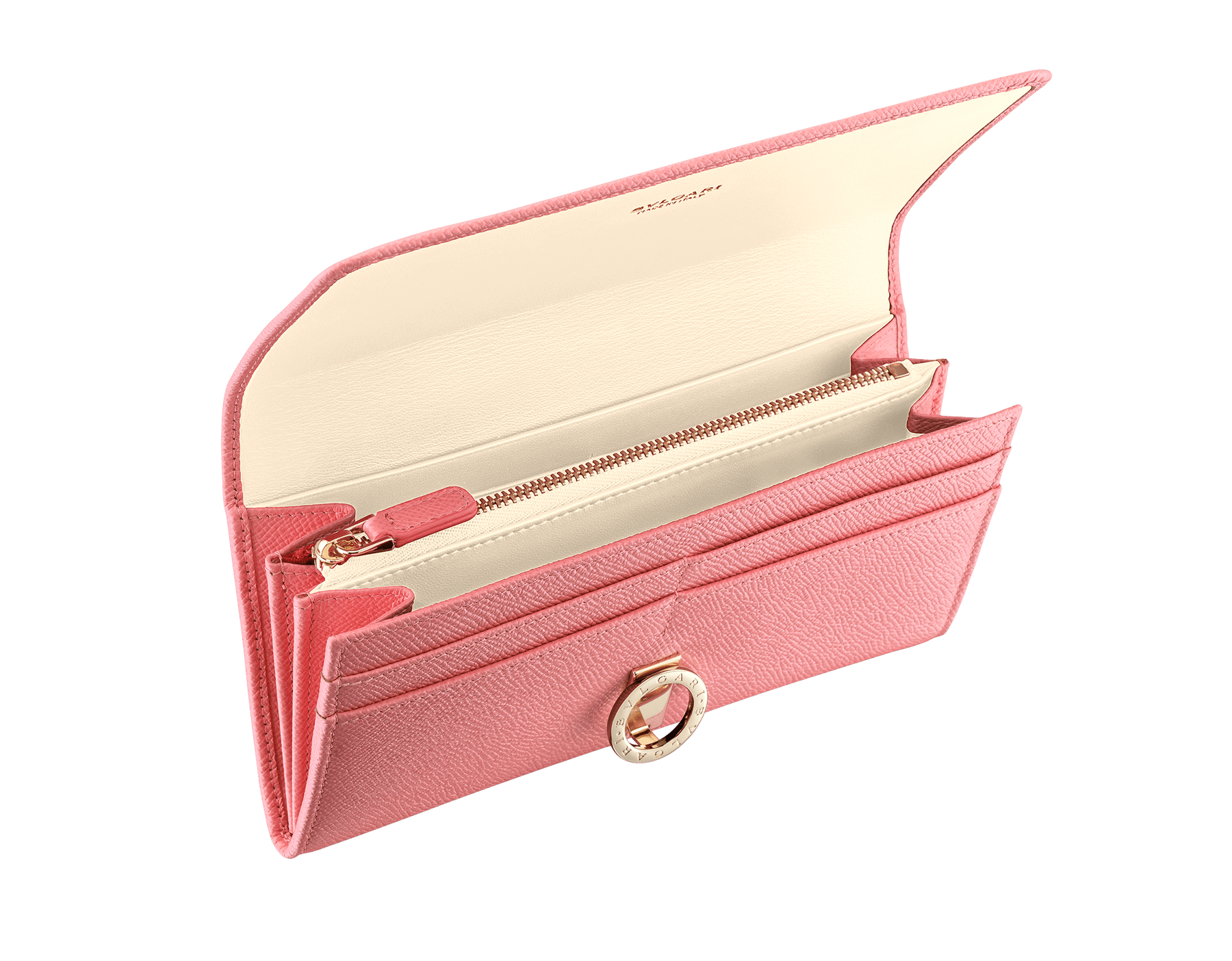 BVLGARI BVLGARI large wallet in mint bright grain calf leather and taffy quartz nappa leather. Iconic logo closure clip in light gold plated brass. 579-WLT-POCHE-16CCa image 2