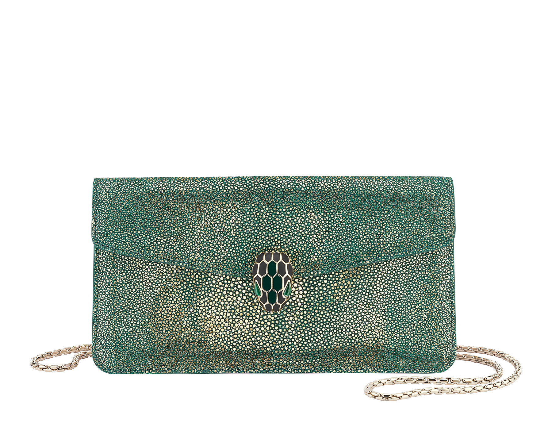 """""""Serpenti Forever"""" shoulder bag in golden emerald crystal galuchat skin. Iconic snake head closure in light gold plated brass enriched with black and forest emerald enamel and green malachite eyes. Special Edition. 486-CG image 1"""