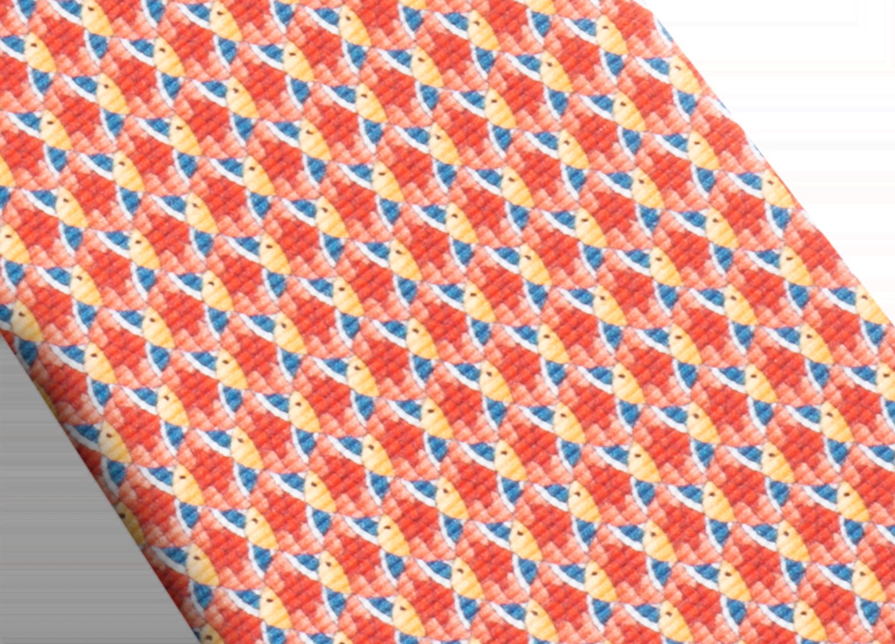 Cravate sept plis Fish Divine rouge en fine serge de soie imprimée. 244154 image 2