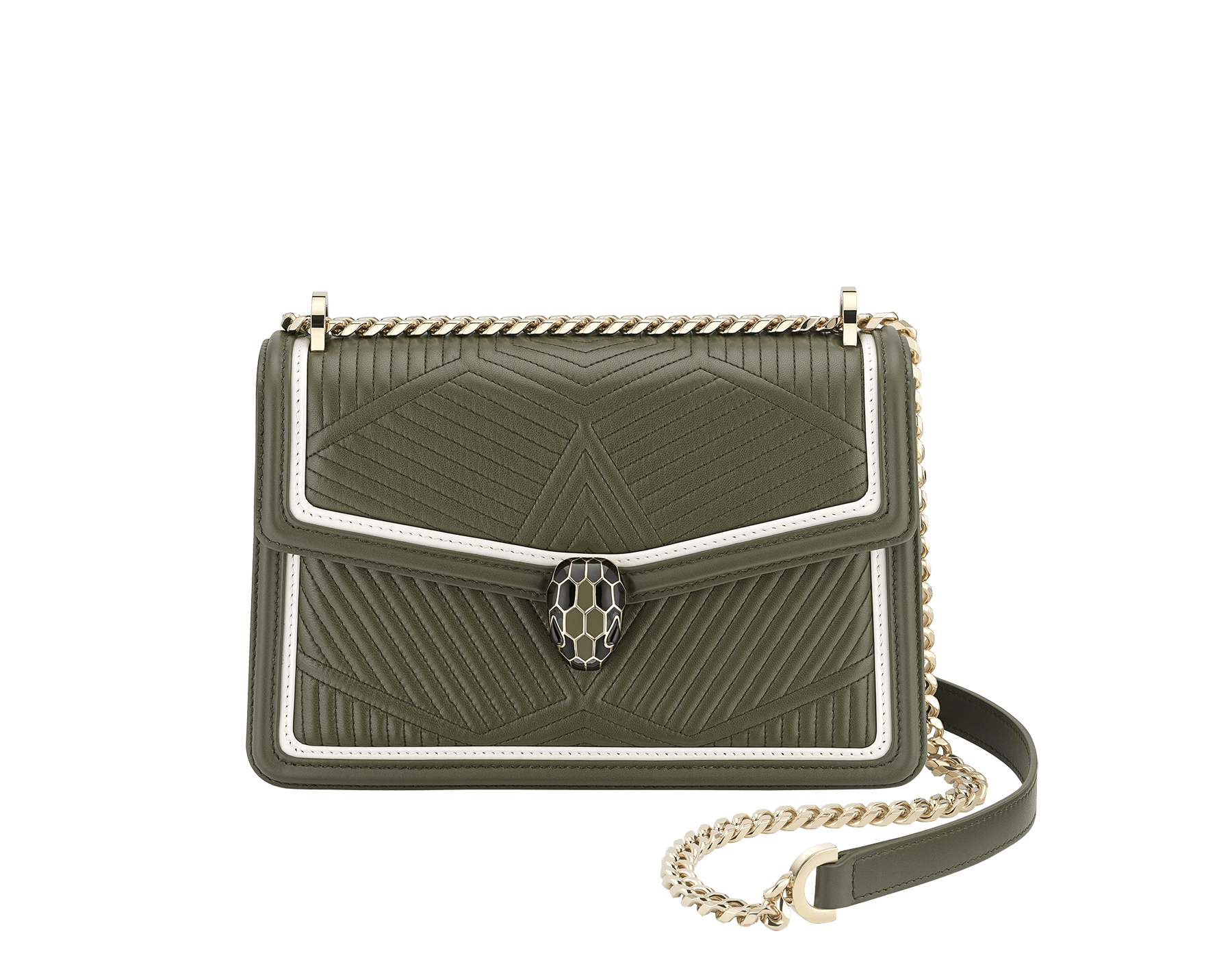 """Serpenti Diamond Blast"" shoulder bag in mimetic jade quilted nappa leather and mimetic jade smooth calf leather frames. Iconic snakehead closure in light gold plated brass enriched with matte black and shiny mimetic jade enamel and black onyx eyes. 922-FQDf image 1"