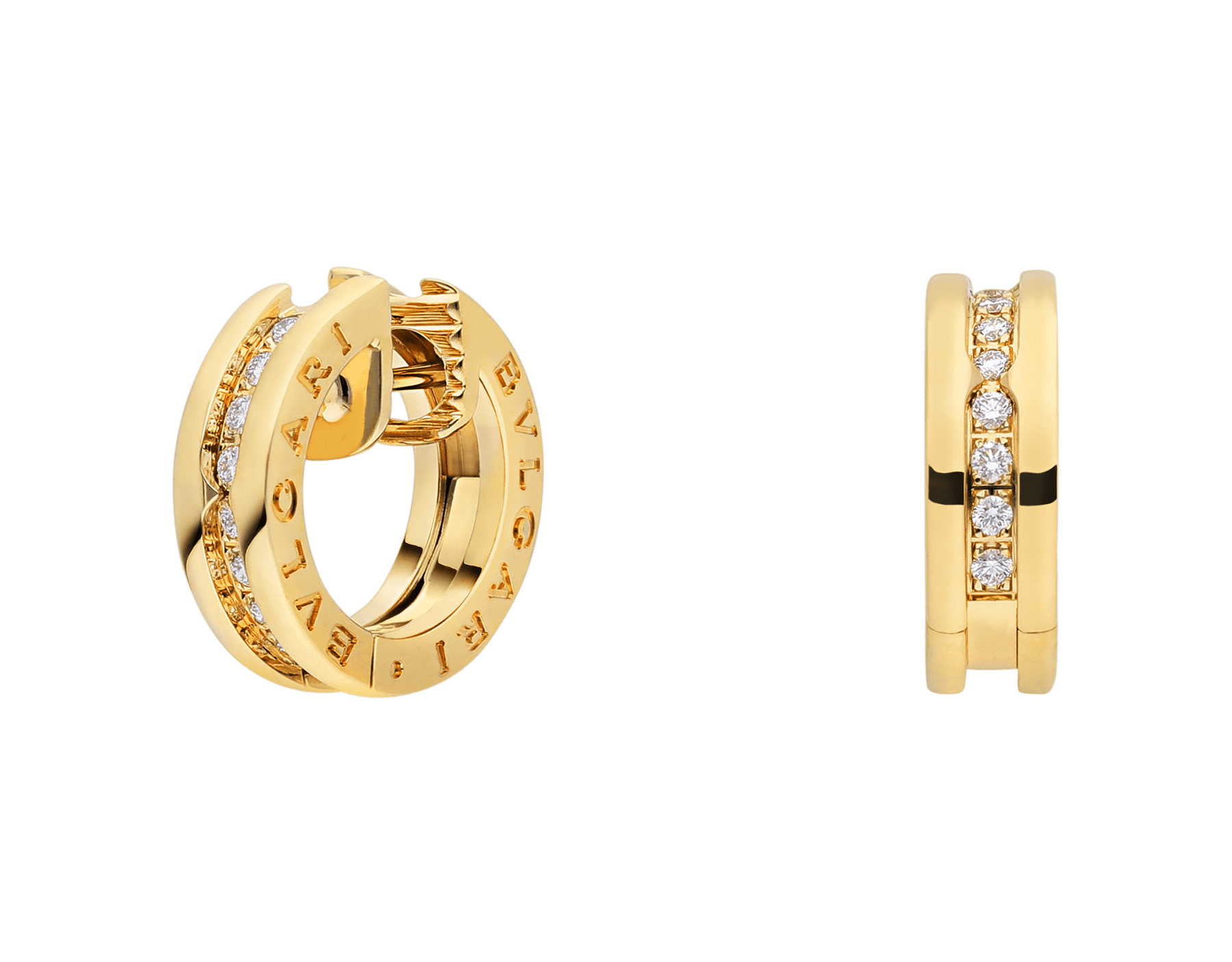 B.zero1 small hoop earrings in 18 kt yellow gold set with pavé diamonds on the spiral 357495 image 1