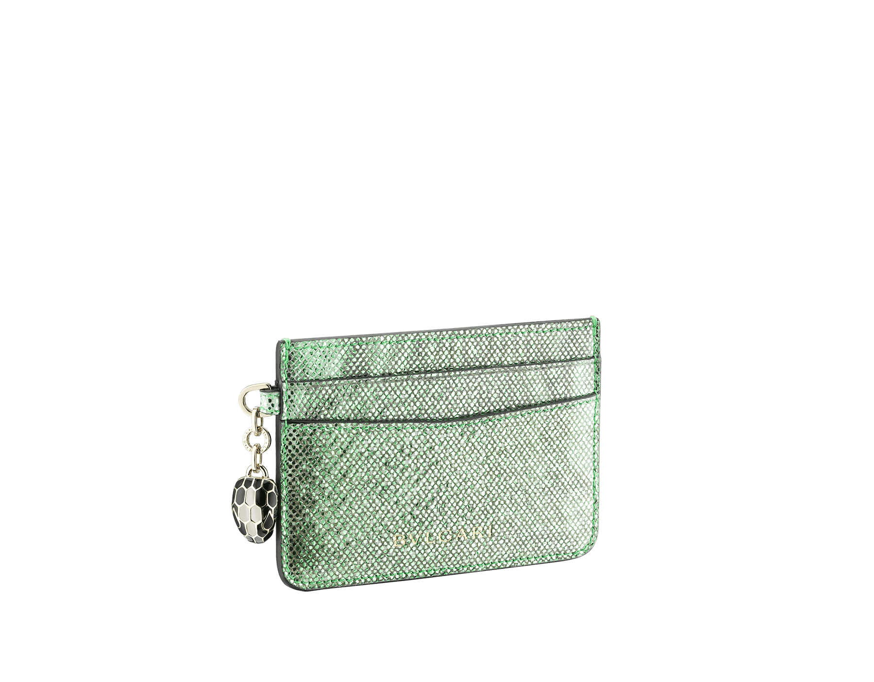"""""""Serpenti Forever"""" card holder in mint metallic karung skin. Iconic snakehead charm in black and white agate enamel, with black enamel eyes. SEA-CC-HOLDER-MK image 1"""
