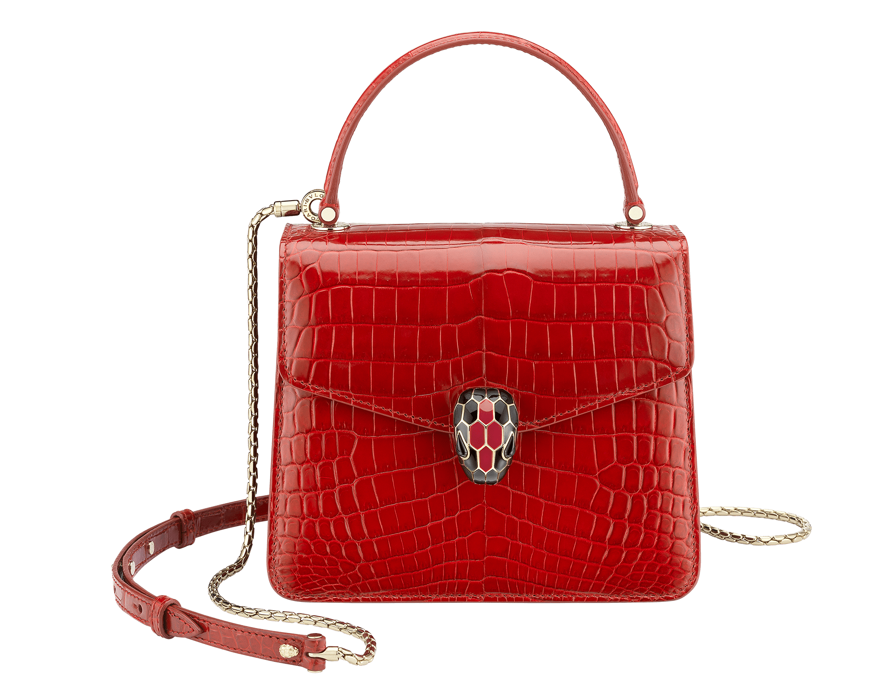 Flap cover bag Serpenti Forever in ruby red shiny croco skin. Brass light gold plated hardware and tempting snake head closure in shiny black and ruby red enamel, with eyes in black onyx. 752-Ca image 1